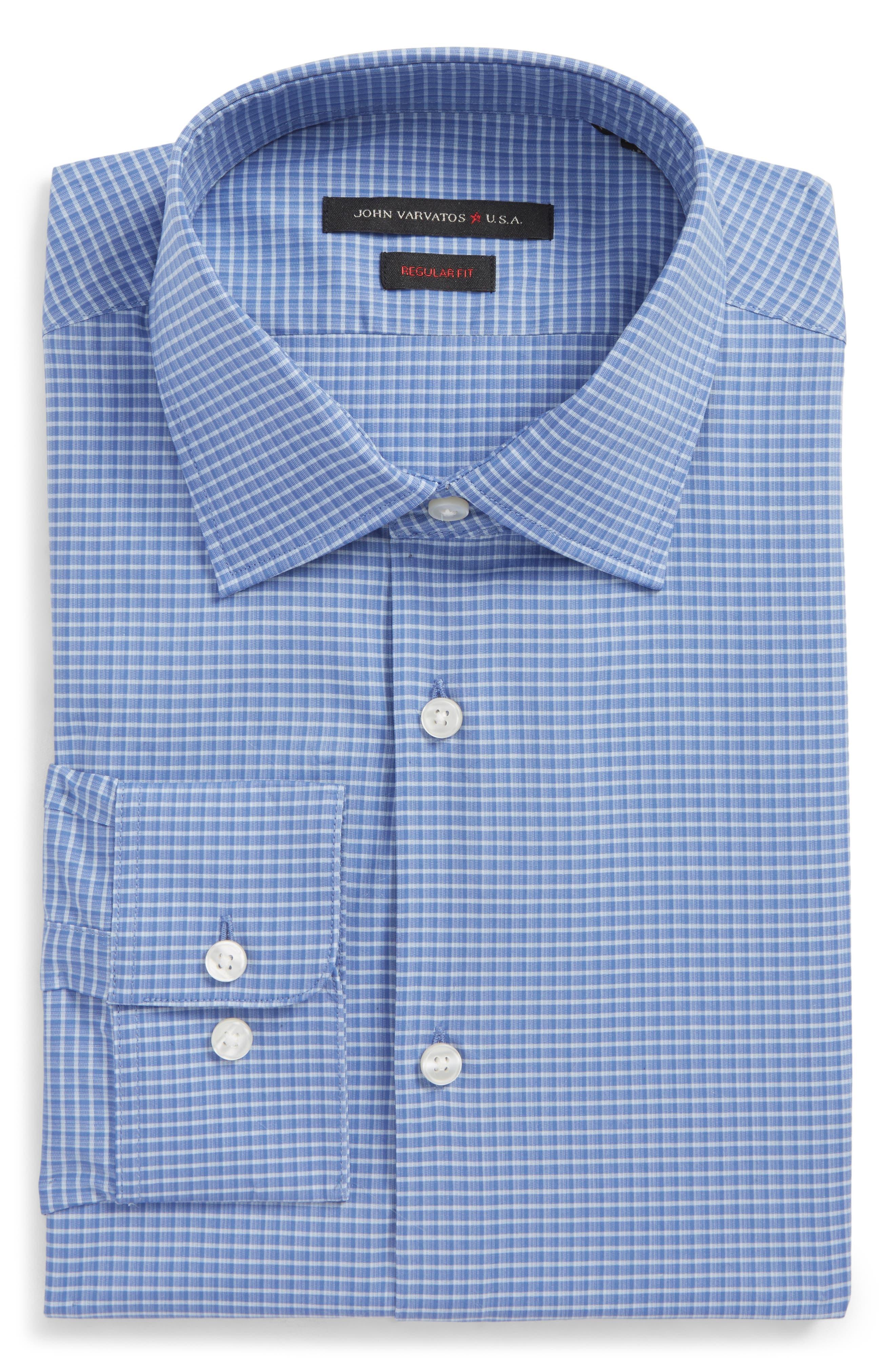 Regular Fit Stretch Plaid Dress Shirt,                         Main,                         color, Sky