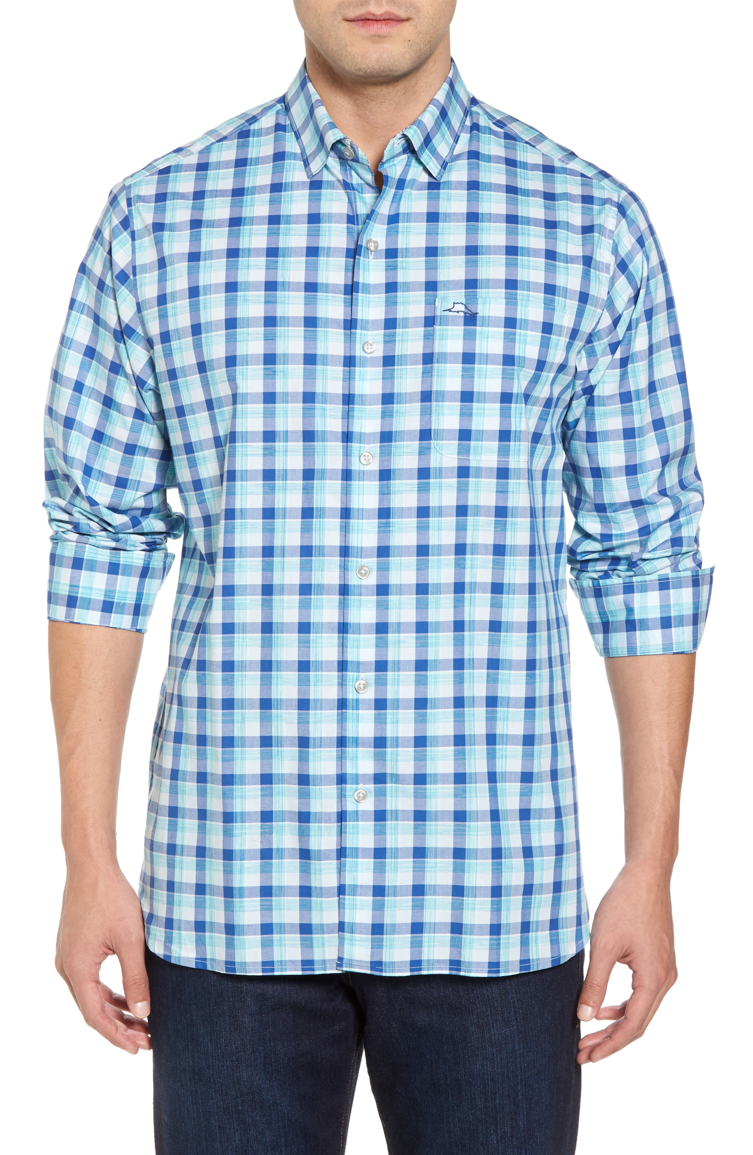 Atlantic Tides Classic Fit Plaid Sport Shirt,                             Main thumbnail 1, color,                             Galaxy Blue