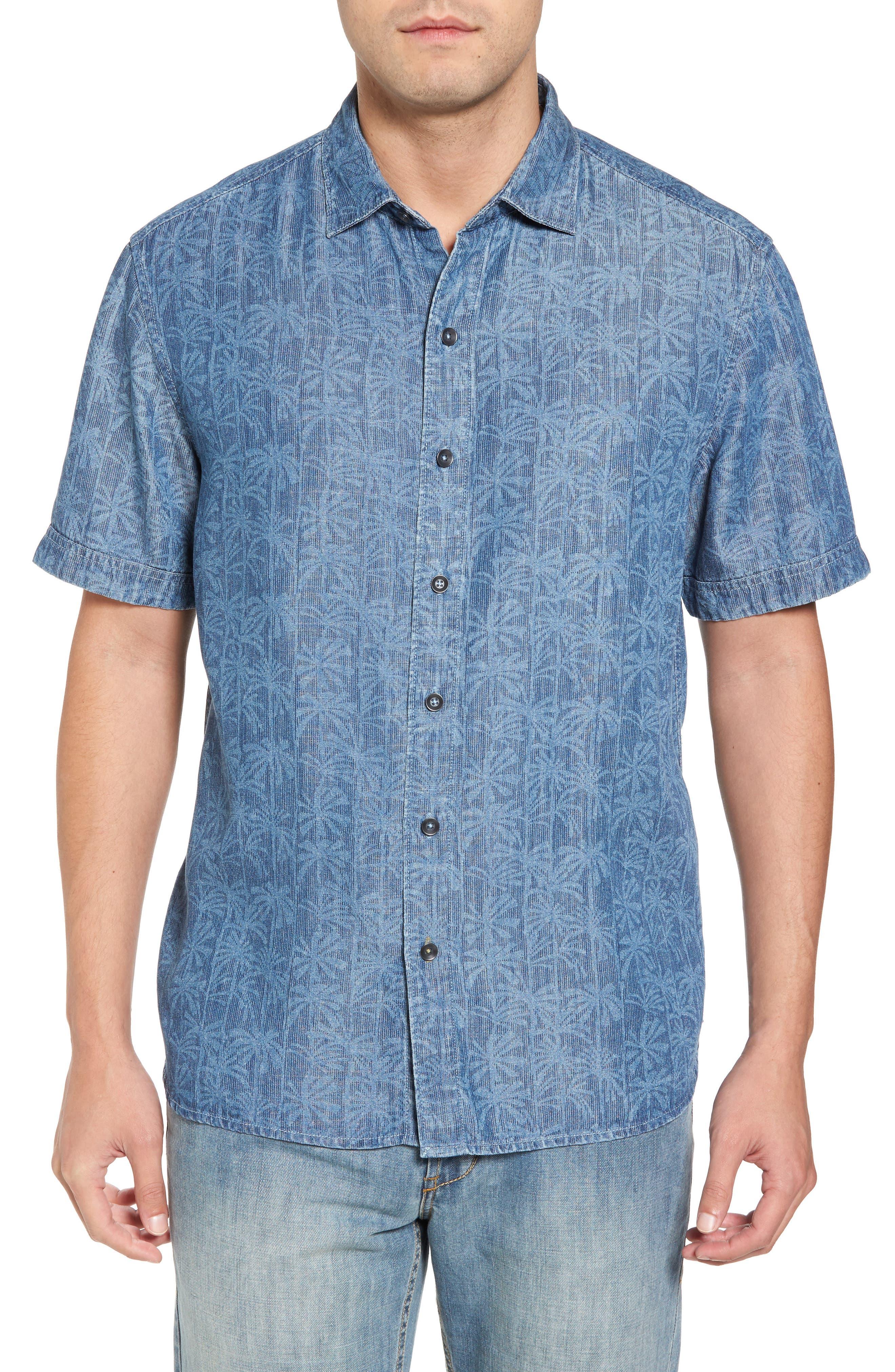 Block Party Palms Chambray Sport Shirt,                             Main thumbnail 1, color,                             Light Indigo