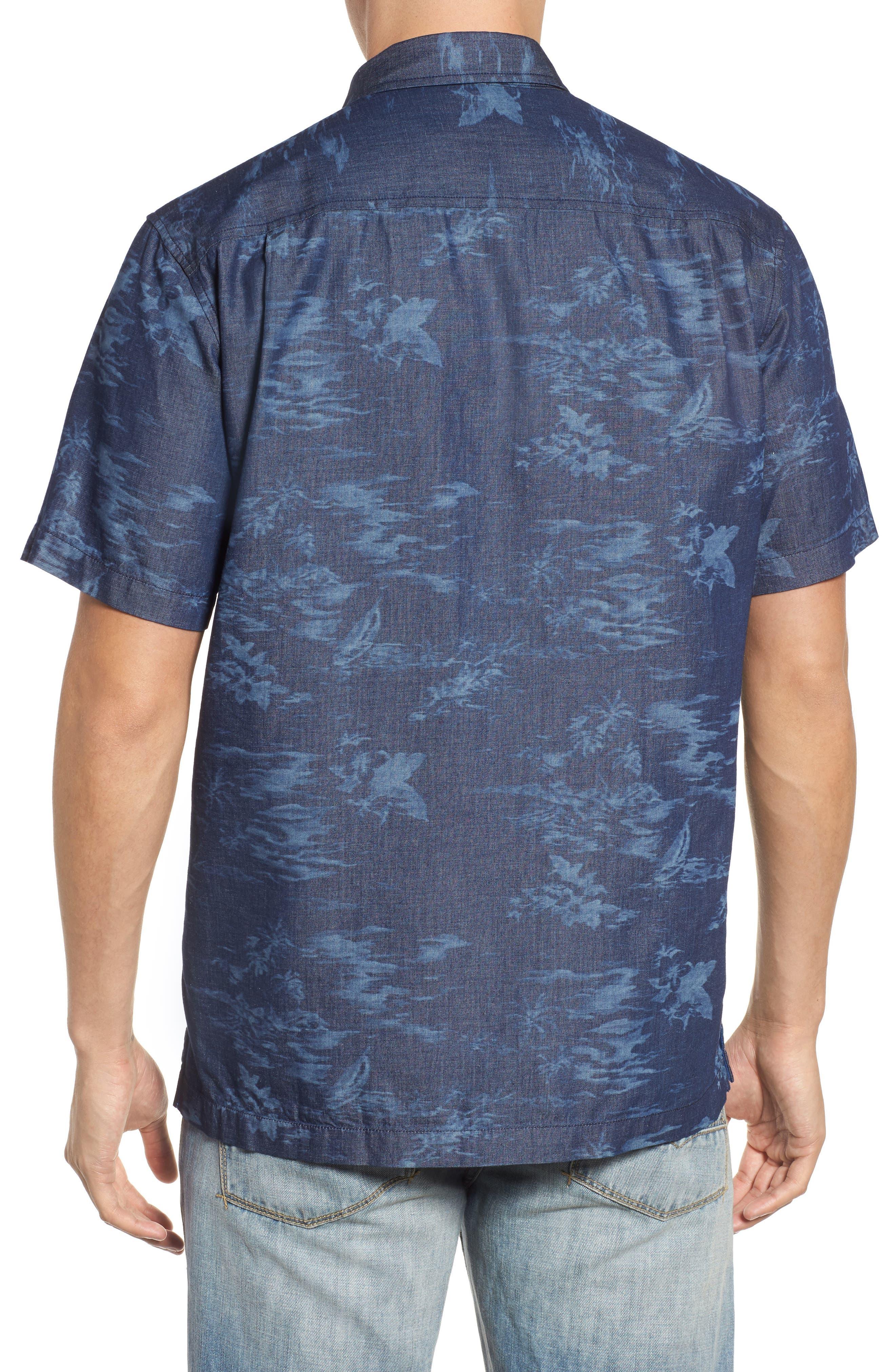 South Beach Scenic Cotton & Silk Camp Shirt,                             Alternate thumbnail 2, color,                             Indigo
