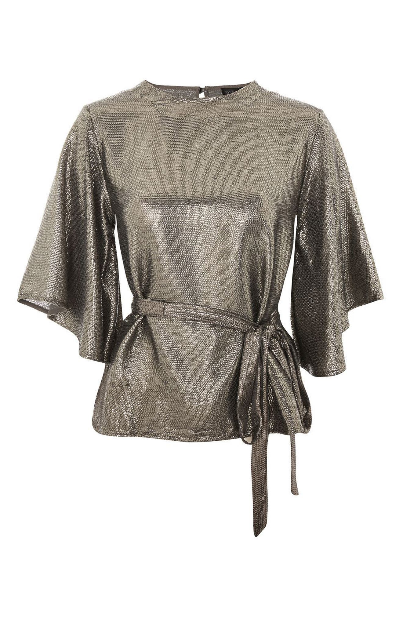 Angel Sleeve Sequin Blouse,                             Alternate thumbnail 4, color,                             Silver
