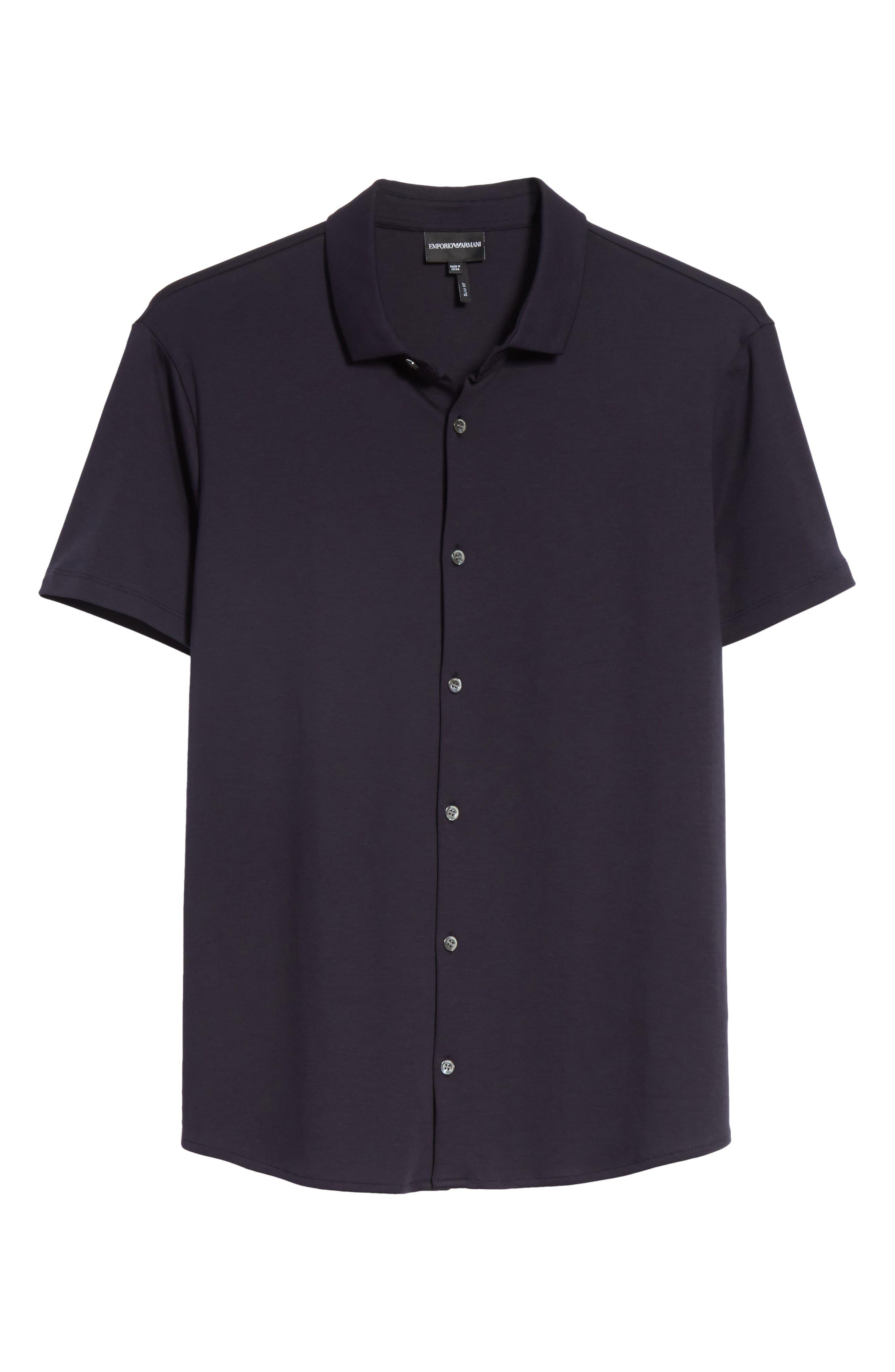 Slim Fit Cotton Knit Sport Shirt,                             Alternate thumbnail 6, color,                             Blue Navy