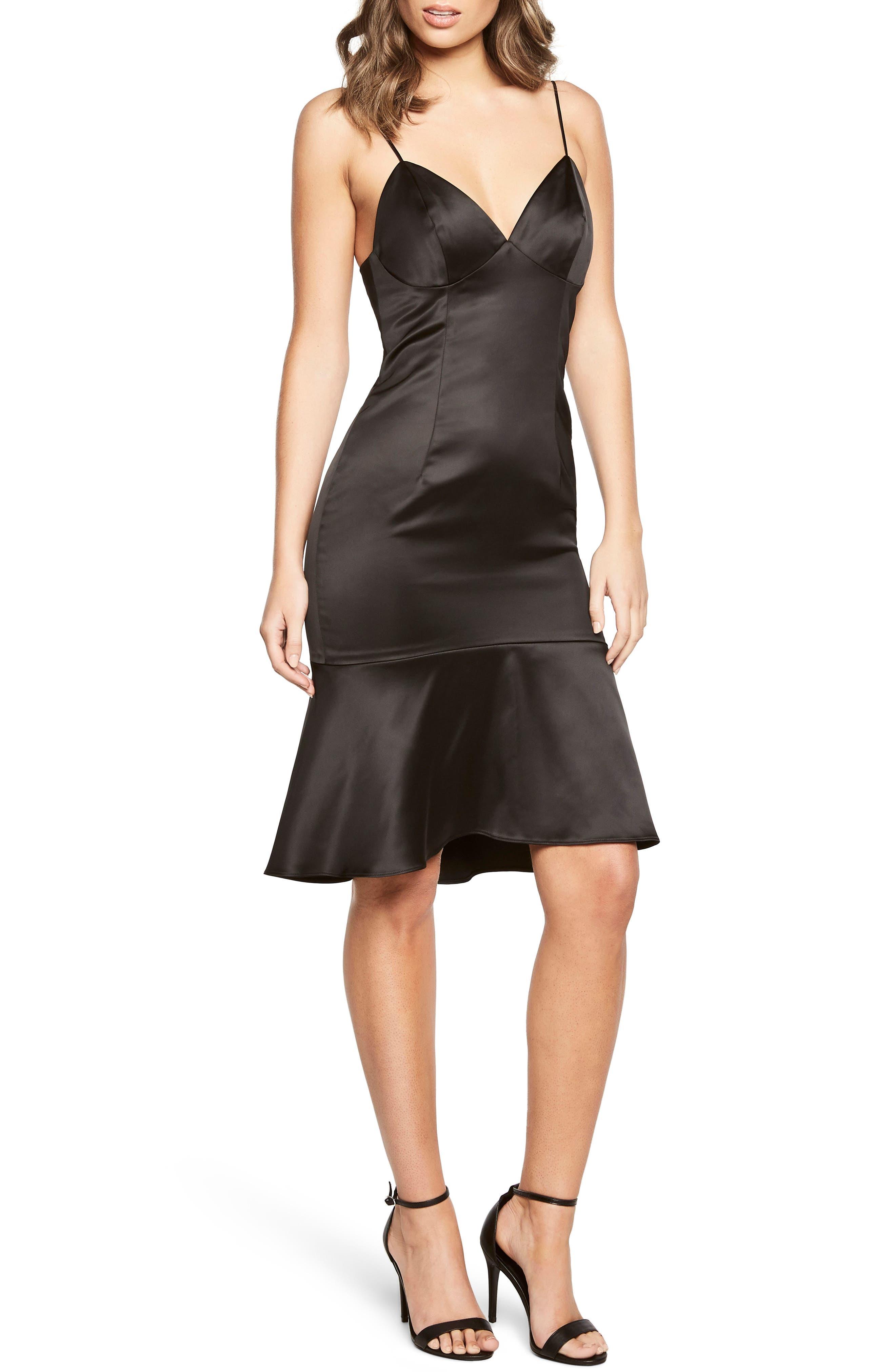 Henley Ruffle Hem Slipdress,                         Main,                         color, Black