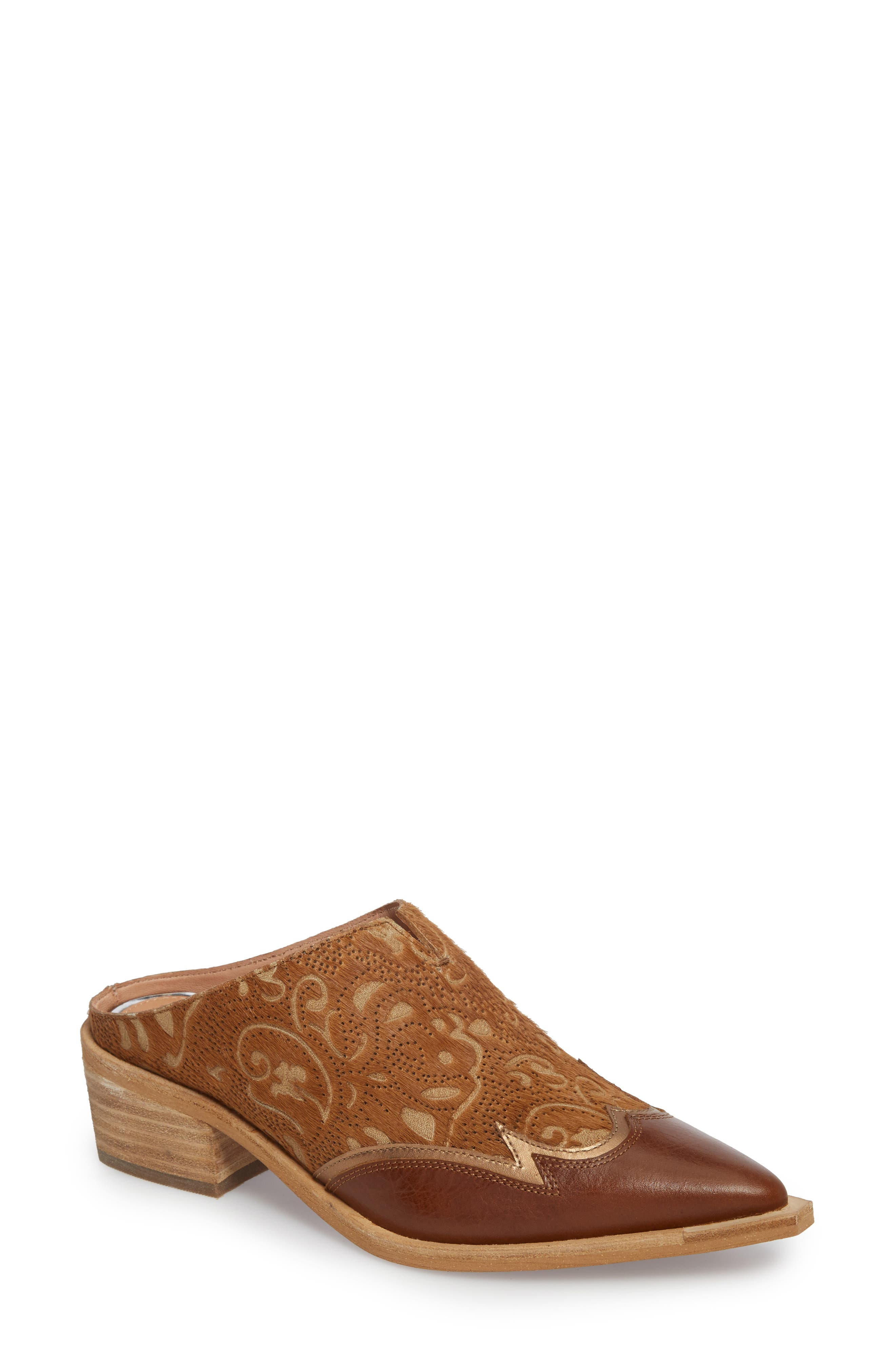 Waylon Genuine Calf Hair Western Mule,                             Main thumbnail 1, color,                             Camel Leather