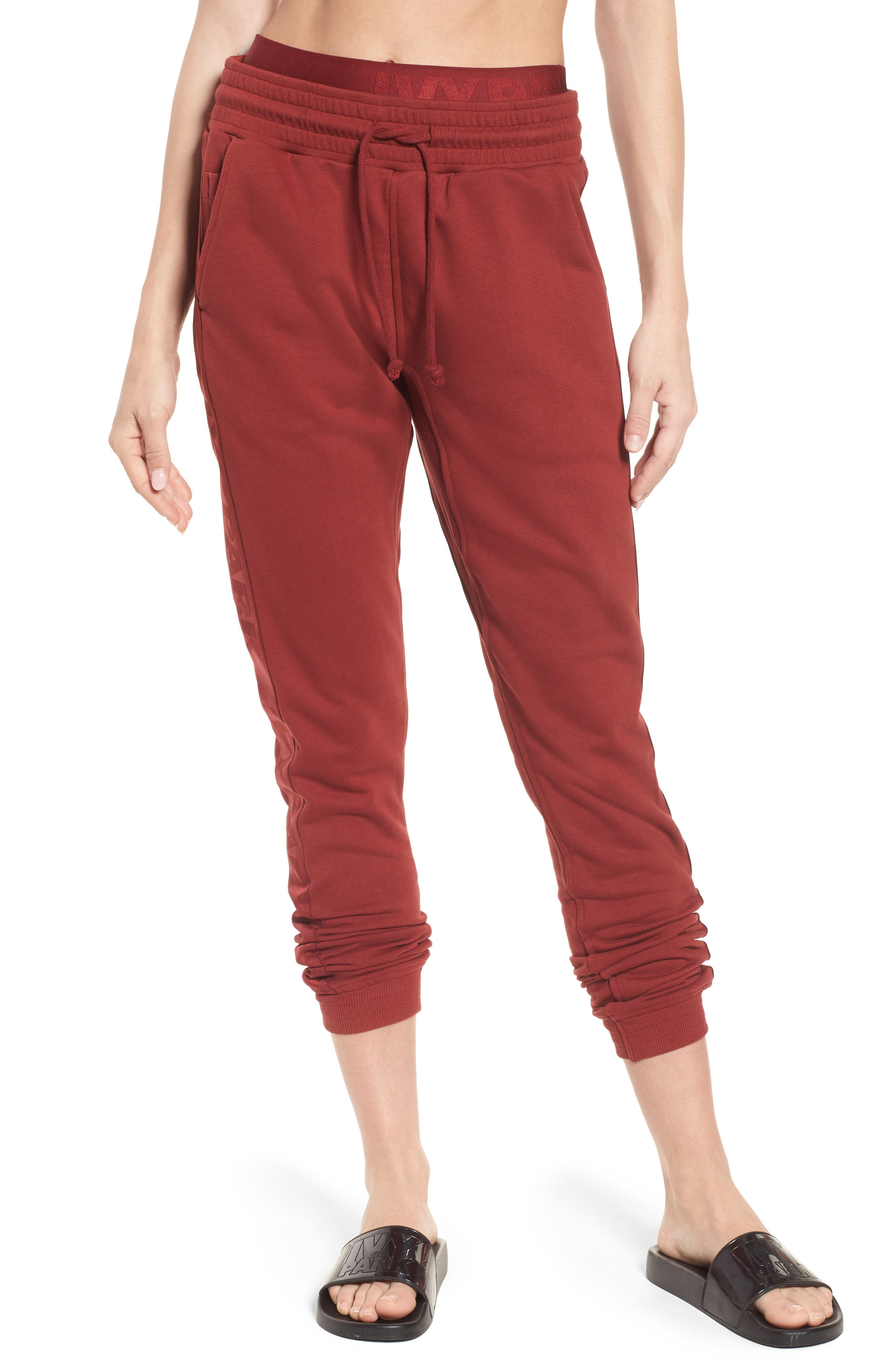 Logo Elastic Jogger Pants,                             Main thumbnail 1, color,                             Russet