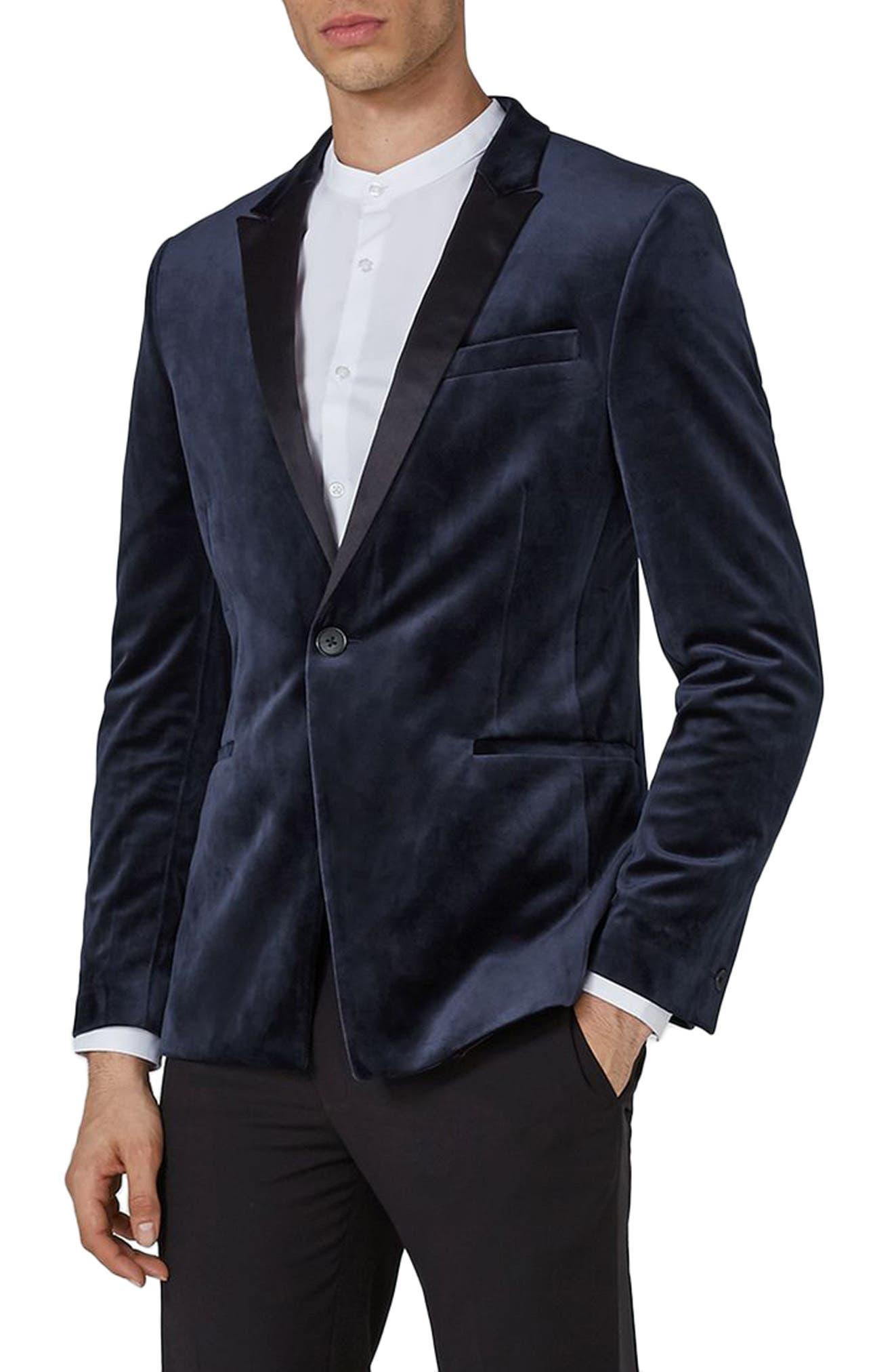 Skinny Fit Velvet Tuxedo Jacket,                             Main thumbnail 1, color,                             Dark Blue