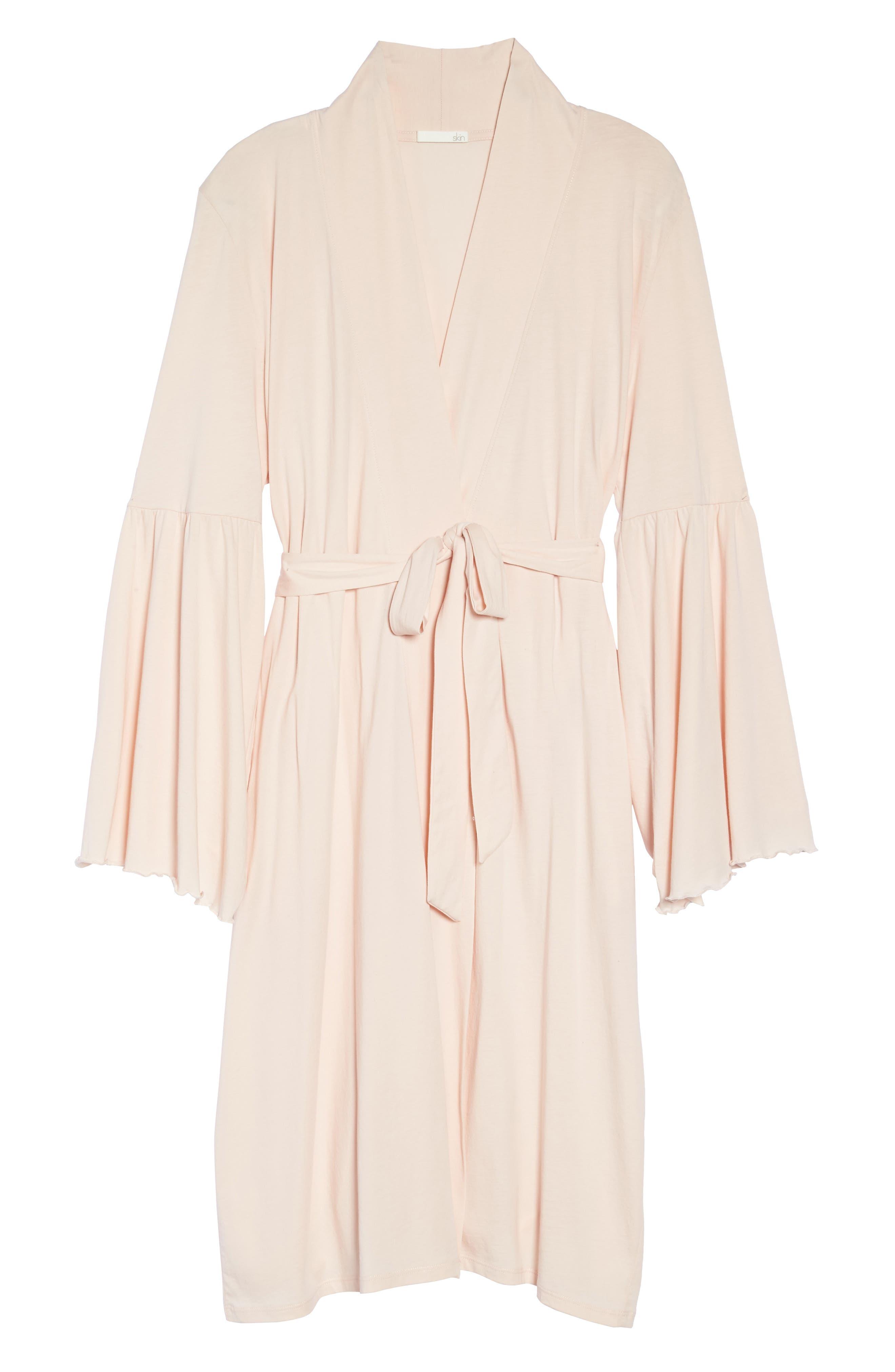 Pima Cotton Robe,                             Alternate thumbnail 6, color,                             Powder Pink