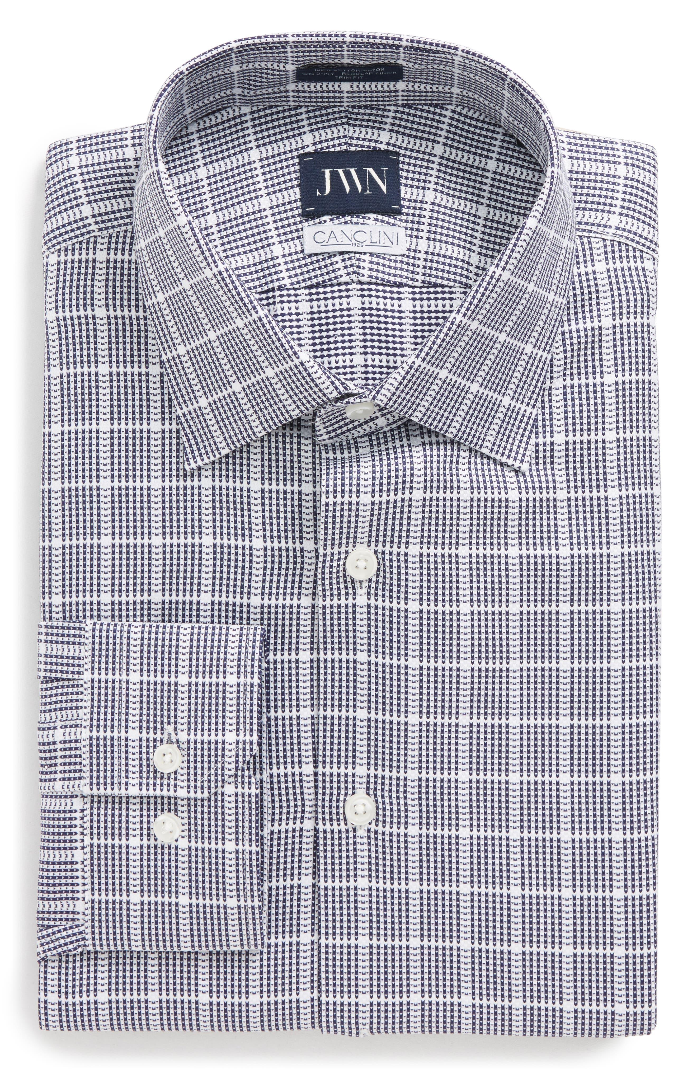 Trim Fit Check Dress Shirt,                             Main thumbnail 1, color,                             Navy Dusk
