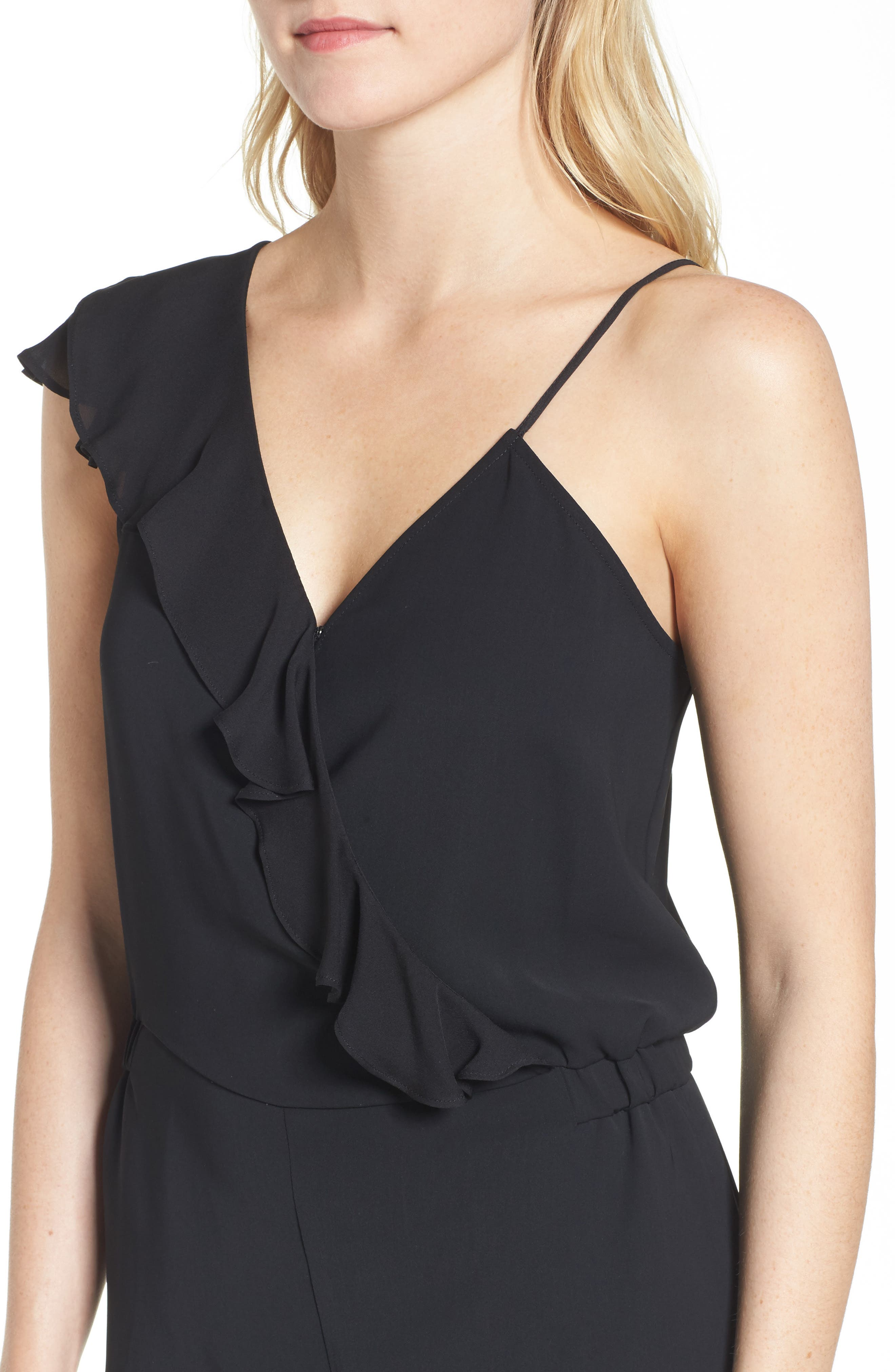 Addison Asymmetrical Jumpsuit,                             Alternate thumbnail 4, color,                             Black