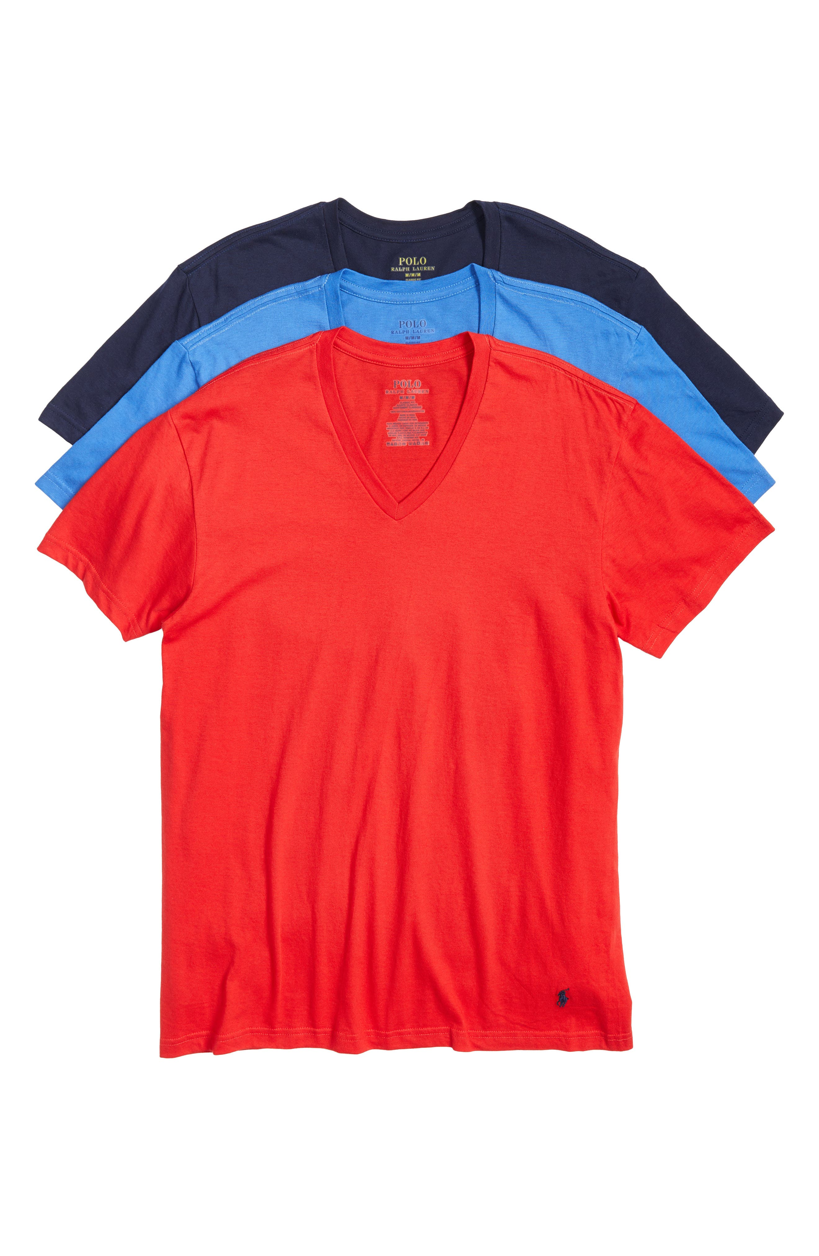 Ralph Lauren 3-Pack Classic V-Neck T-Shirts,                             Main thumbnail 1, color,                             Racer Blue/ Red/ Cruise Navy