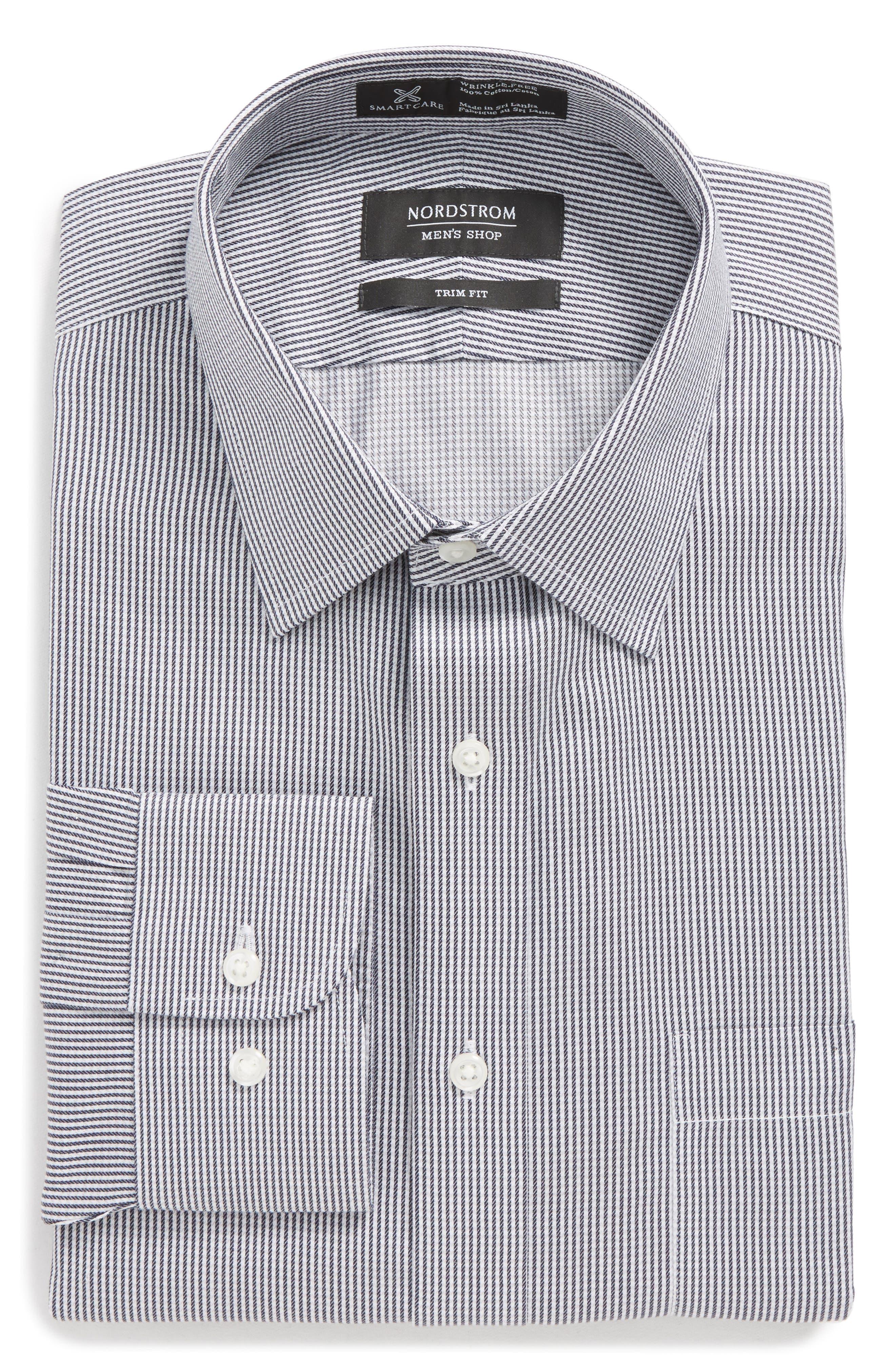Smartcare<sup>™</sup> Trim Fit Stripe Dress Shirt,                             Alternate thumbnail 6, color,                             Black Rock