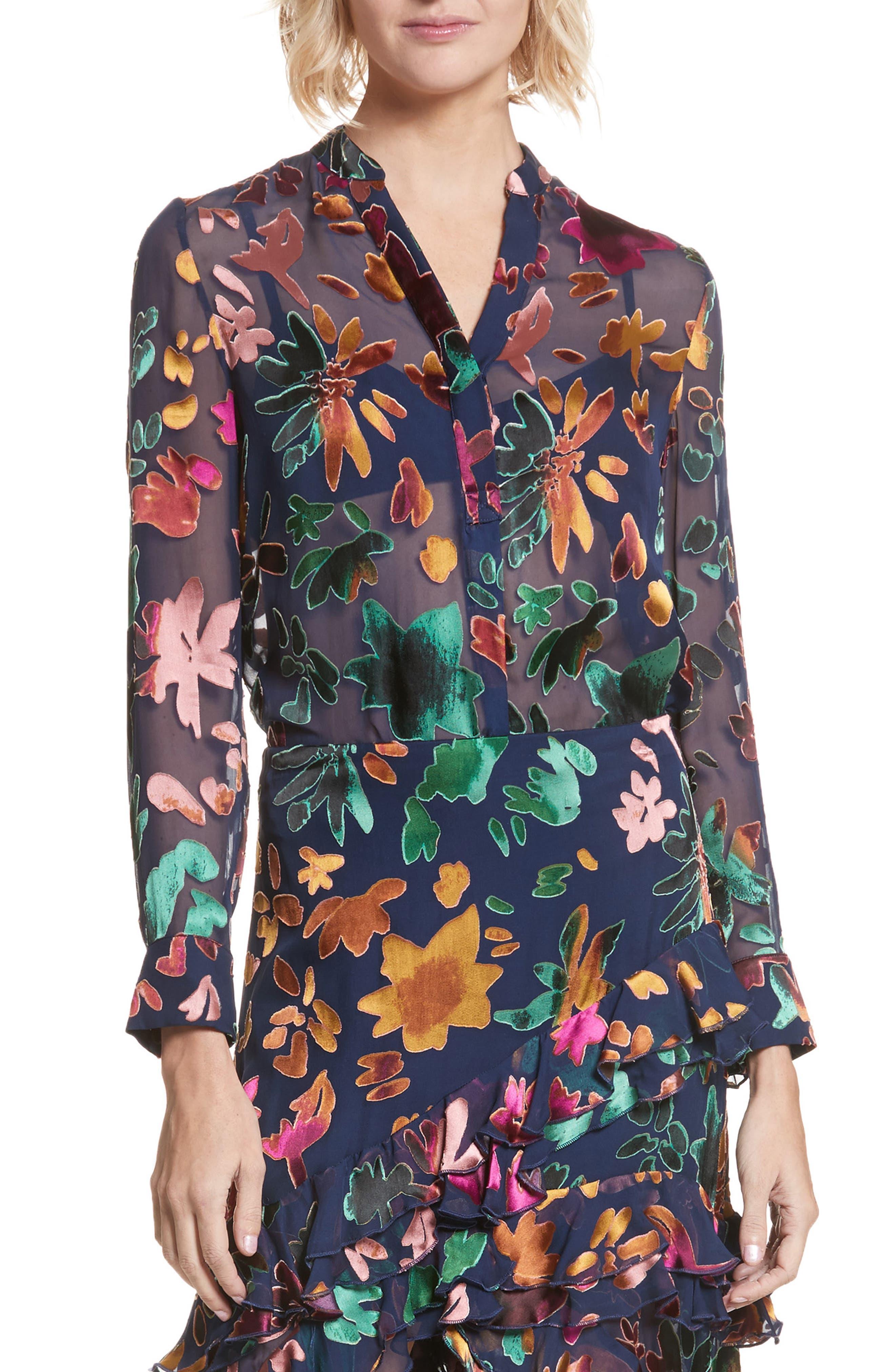 Amos Floral Burnout Velvet Tunic,                         Main,                         color, Prisma Floral Sapphire