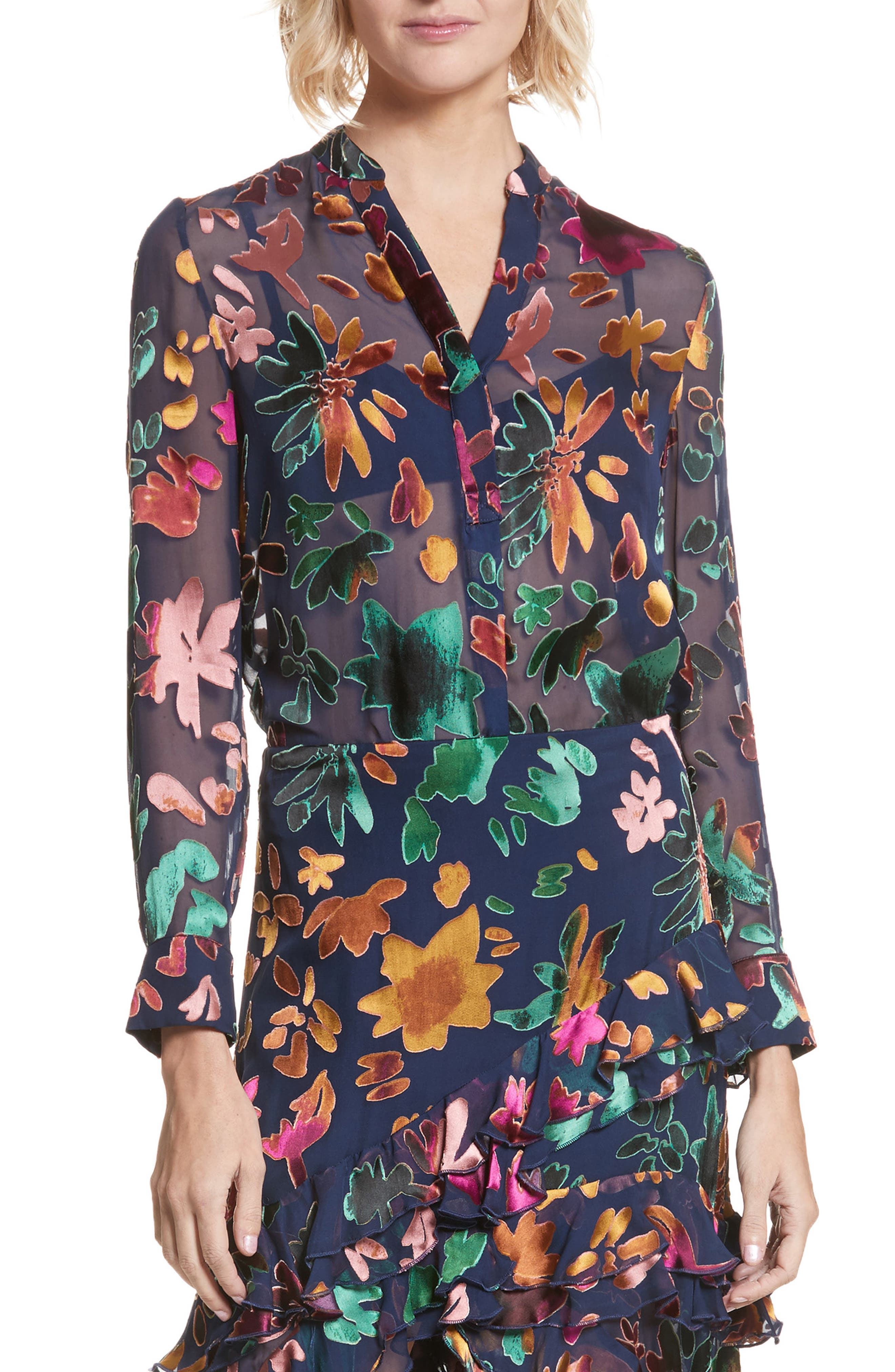 Alice + Olivia Amos Floral Burnout Velvet Tunic