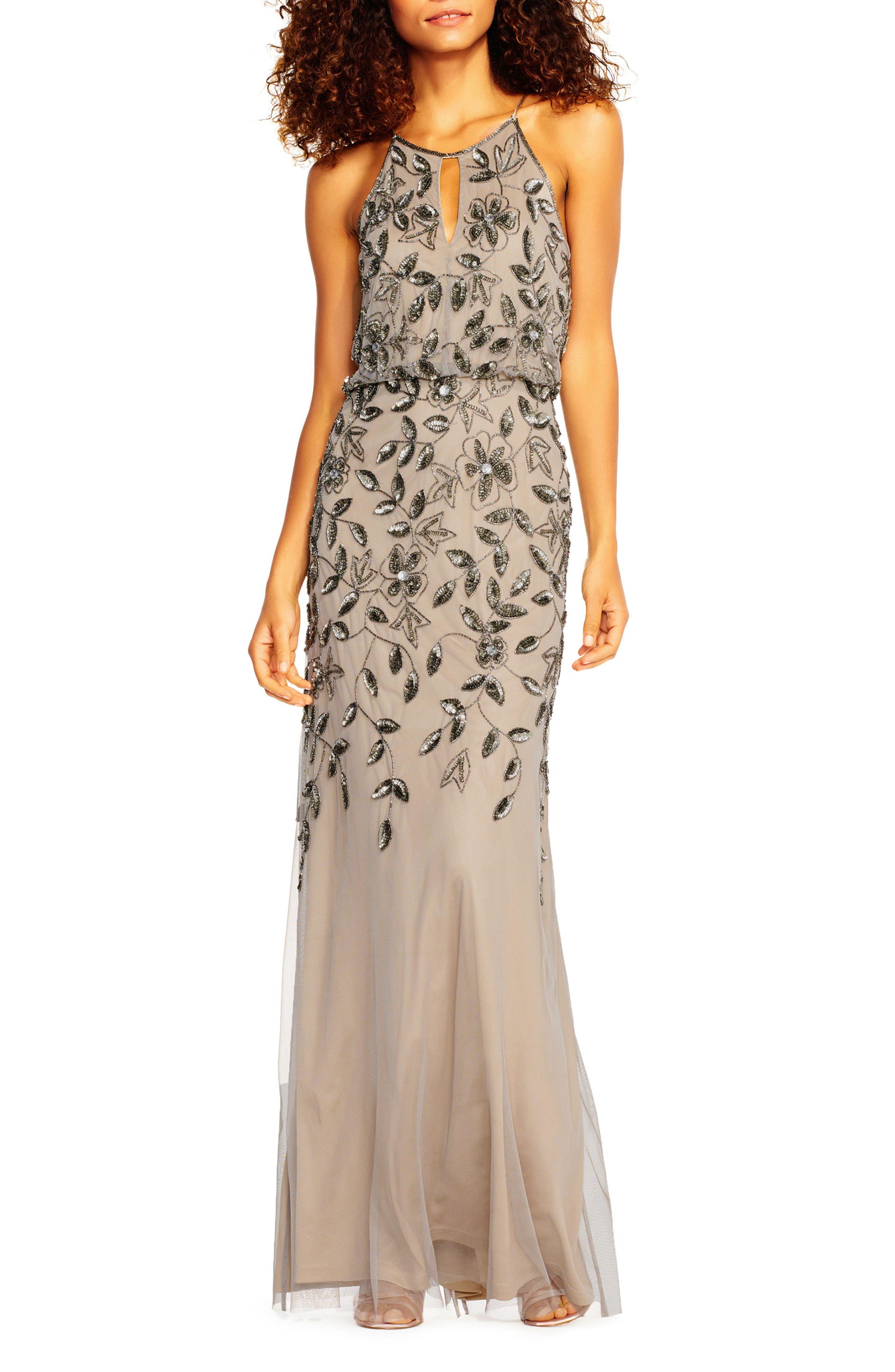 Beaded Halter Neck Mermaid Gown,                         Main,                         color, Platinum
