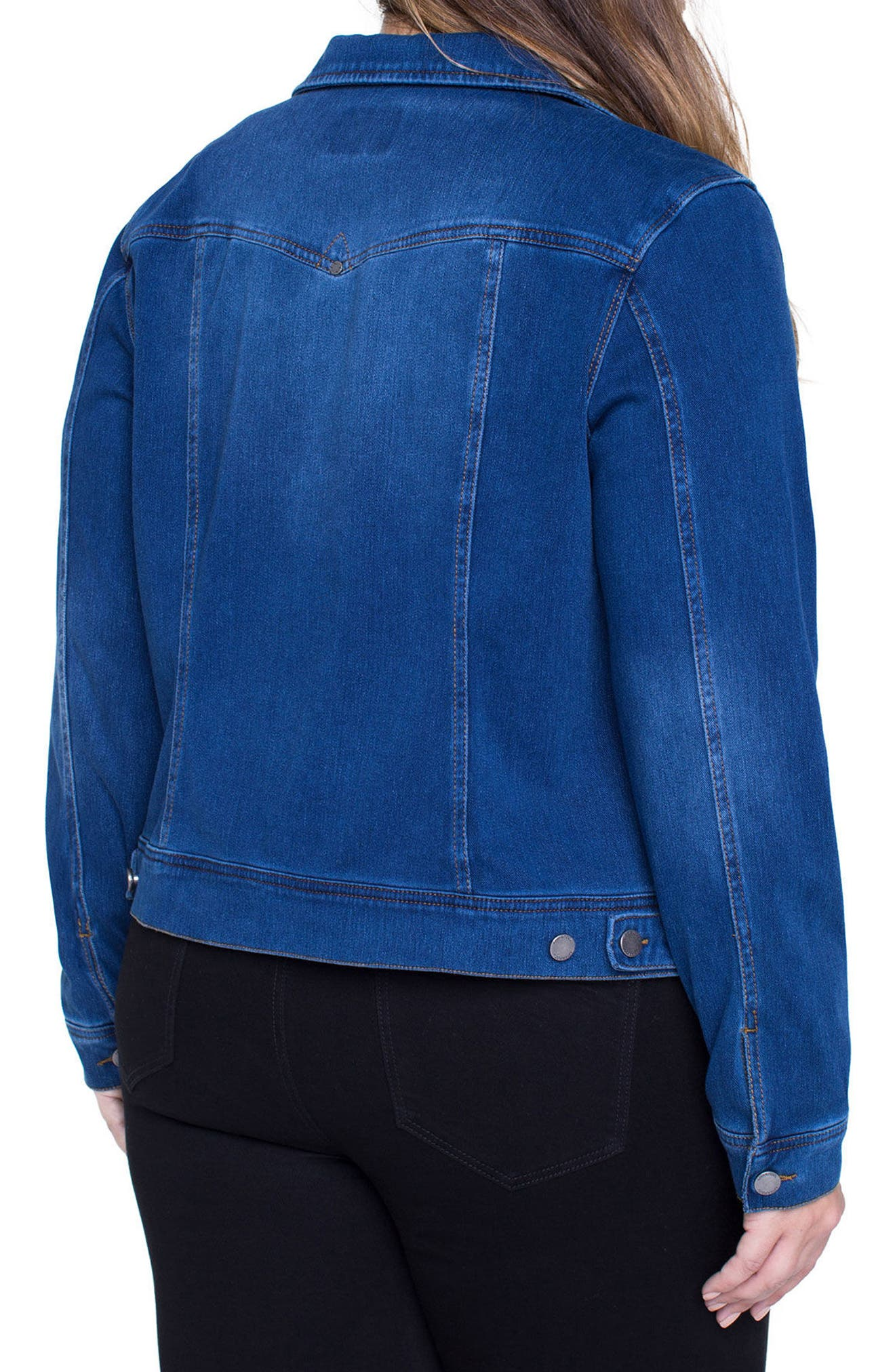 Alternate Image 2  - Liverpool Jeans Company Denim Knit Jacket (Plus Size)