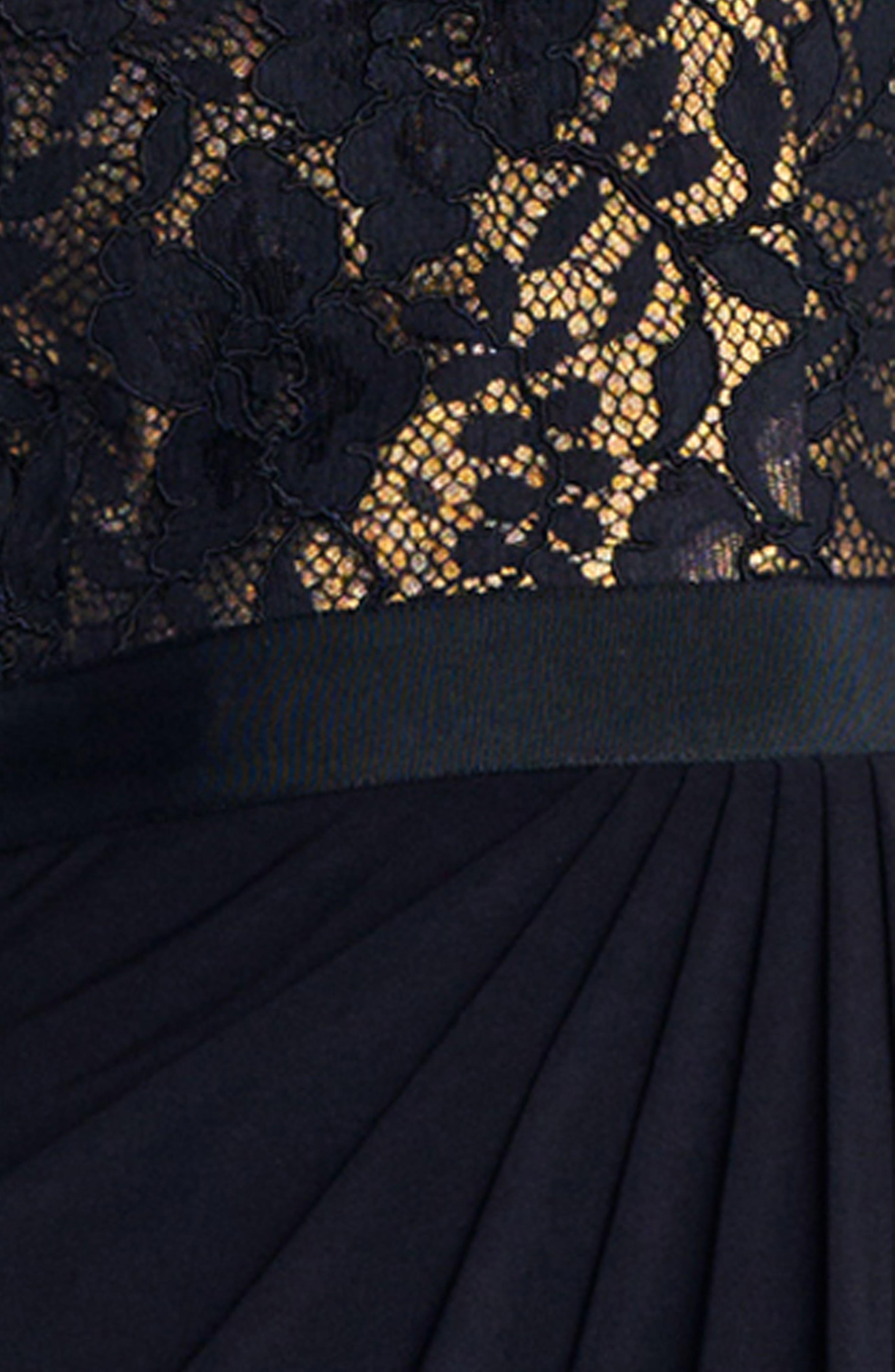 Lace One-Shoulder Gown,                             Alternate thumbnail 3, color,                             Black/Copper