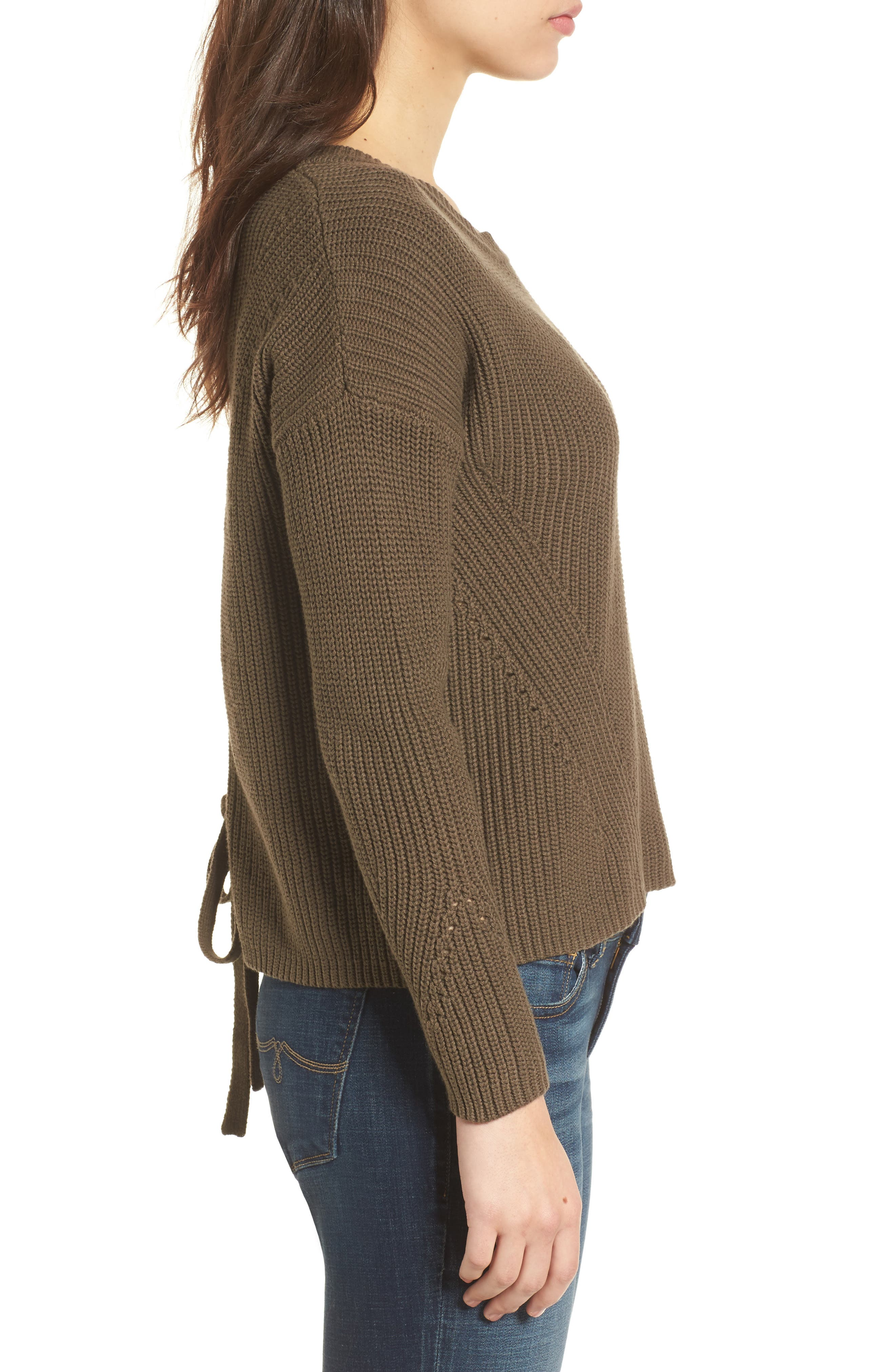 Alternate Image 3  - Lucky Brand Lace-Up Back Sweater