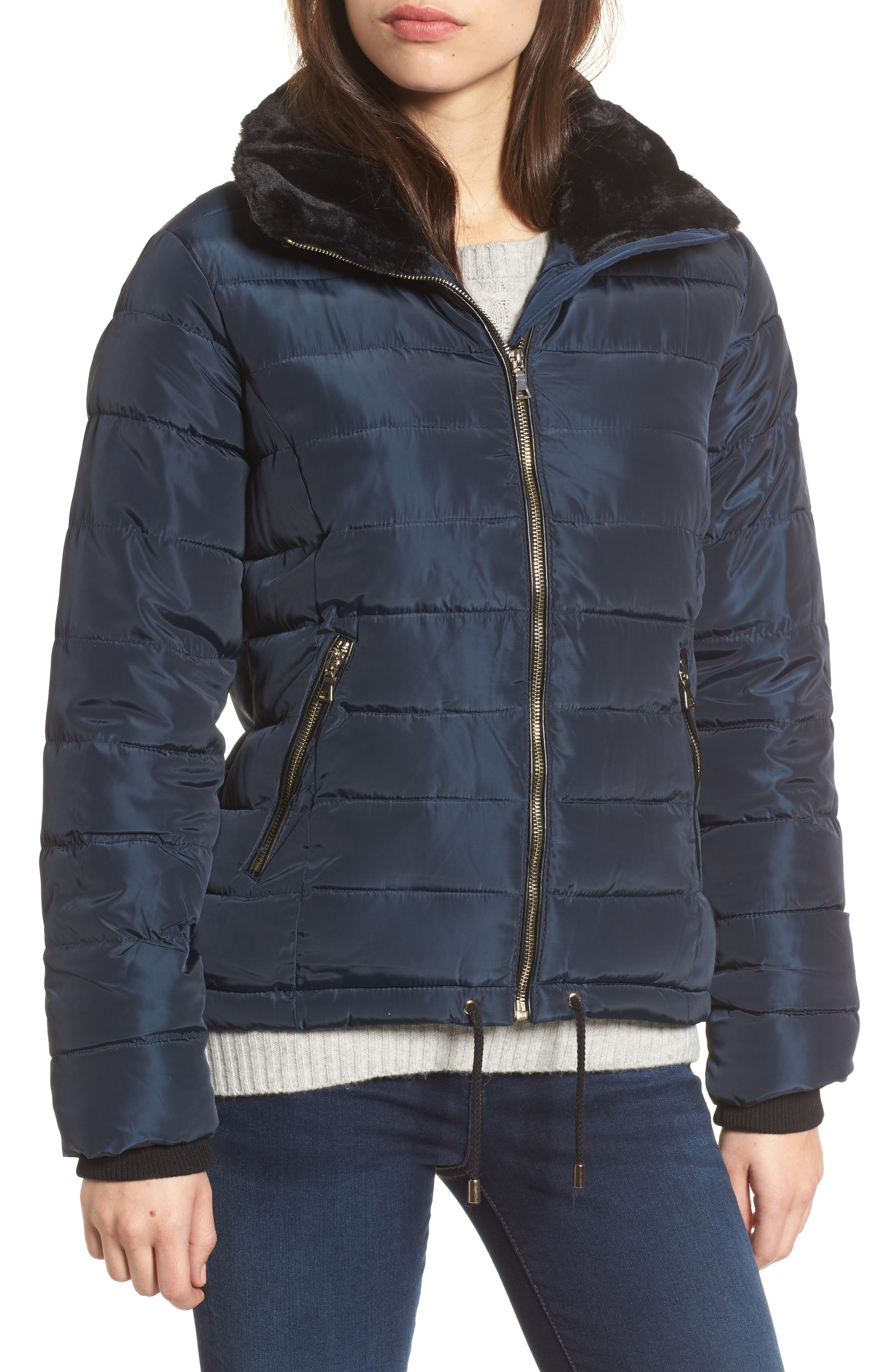 Puffer Jacket with Faux Fur Collar Lining,                             Alternate thumbnail 4, color,                             Navy Blue