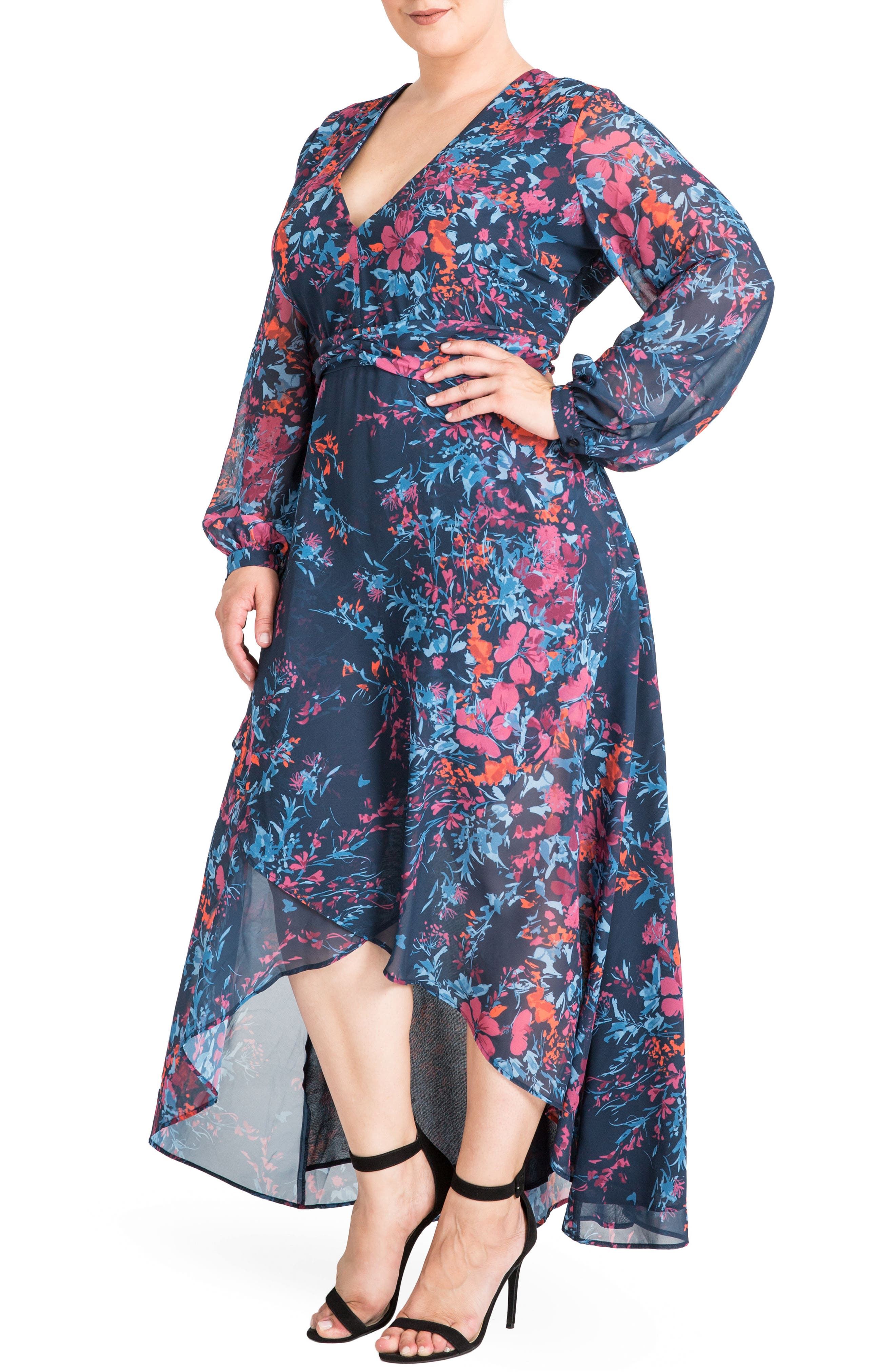 Floral Chiffon Maxi Dress,                             Alternate thumbnail 3, color,                             Floral Print
