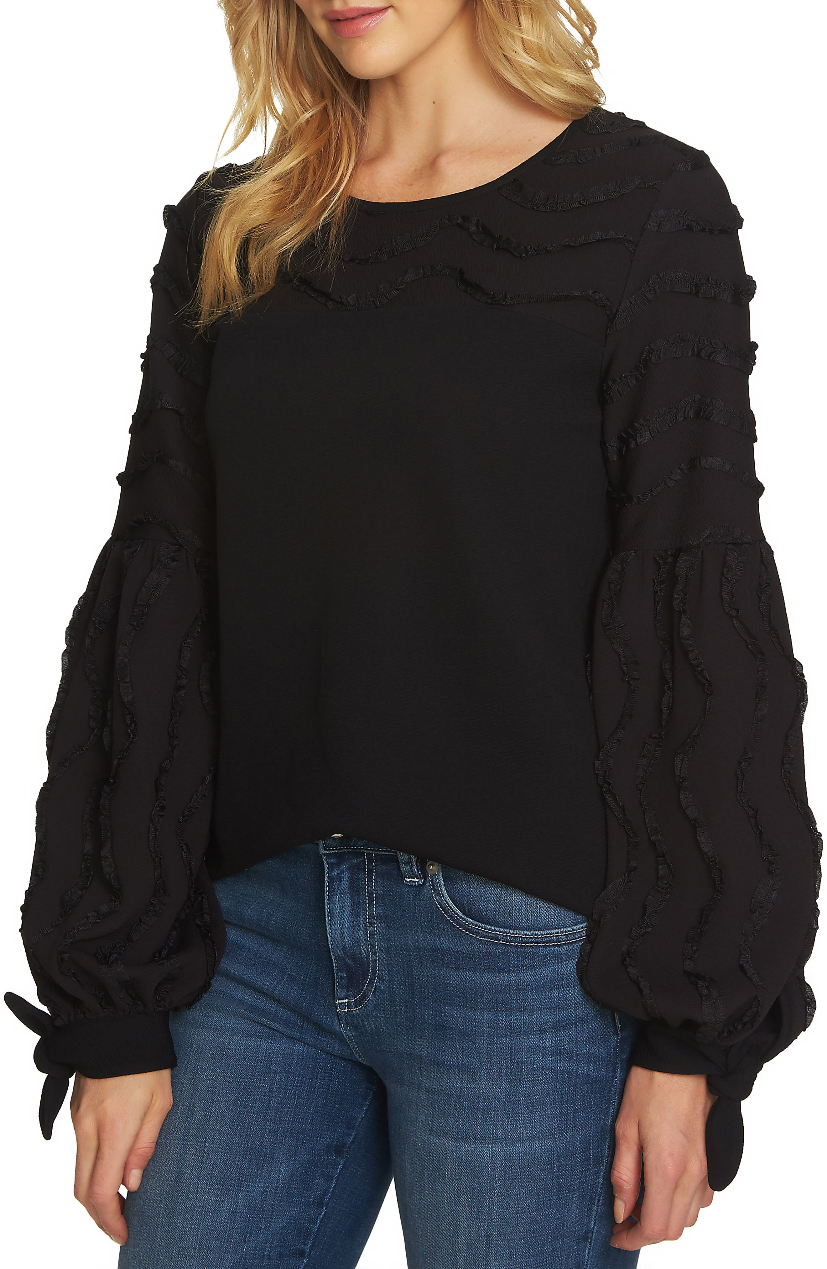 Balloon Sleeve Textured Knit Top,                             Main thumbnail 1, color,                             Rich Black