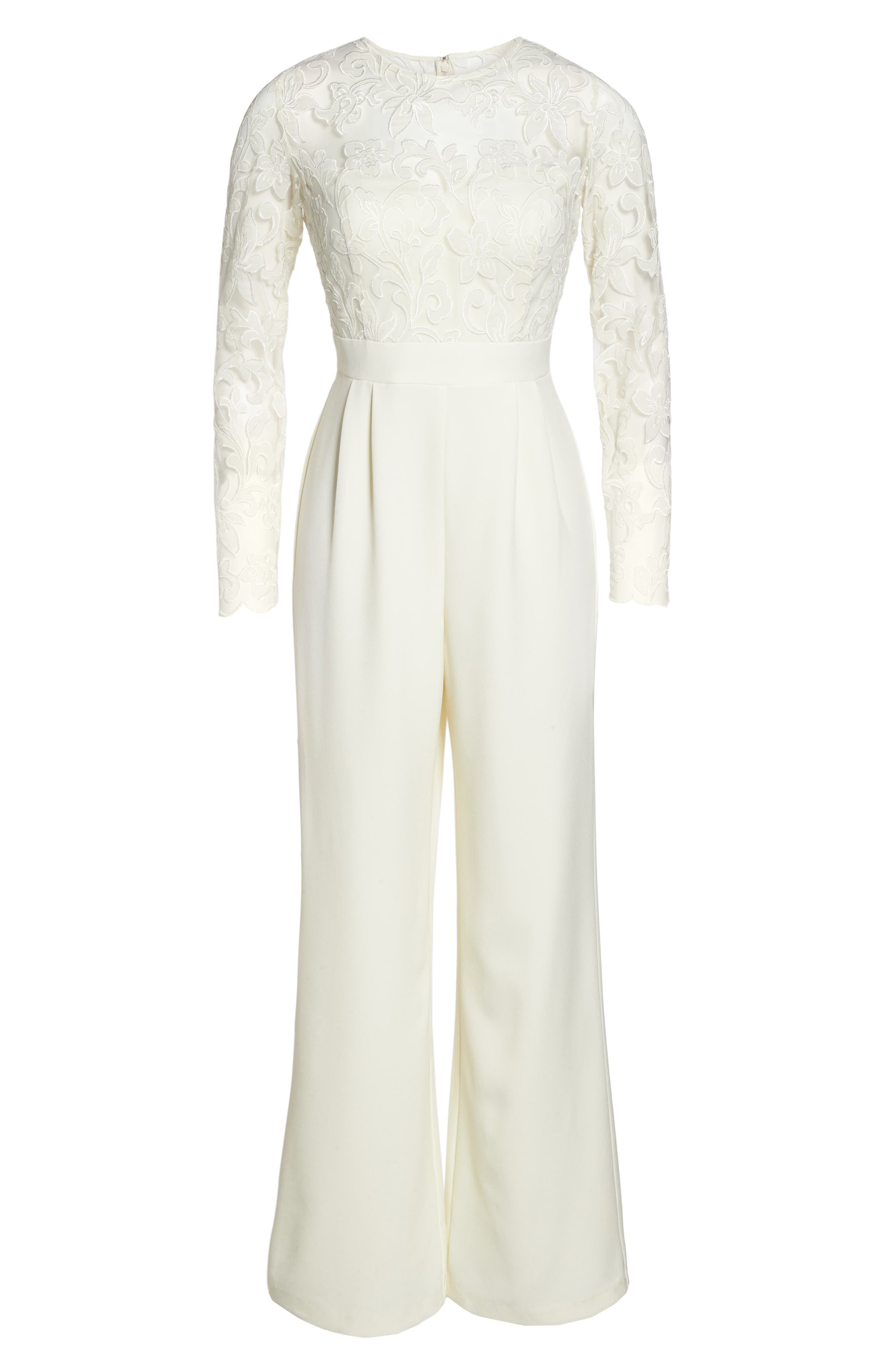 Embroidered Bodice Wide Leg Jumpsuit,                             Alternate thumbnail 6, color,                             Ivory