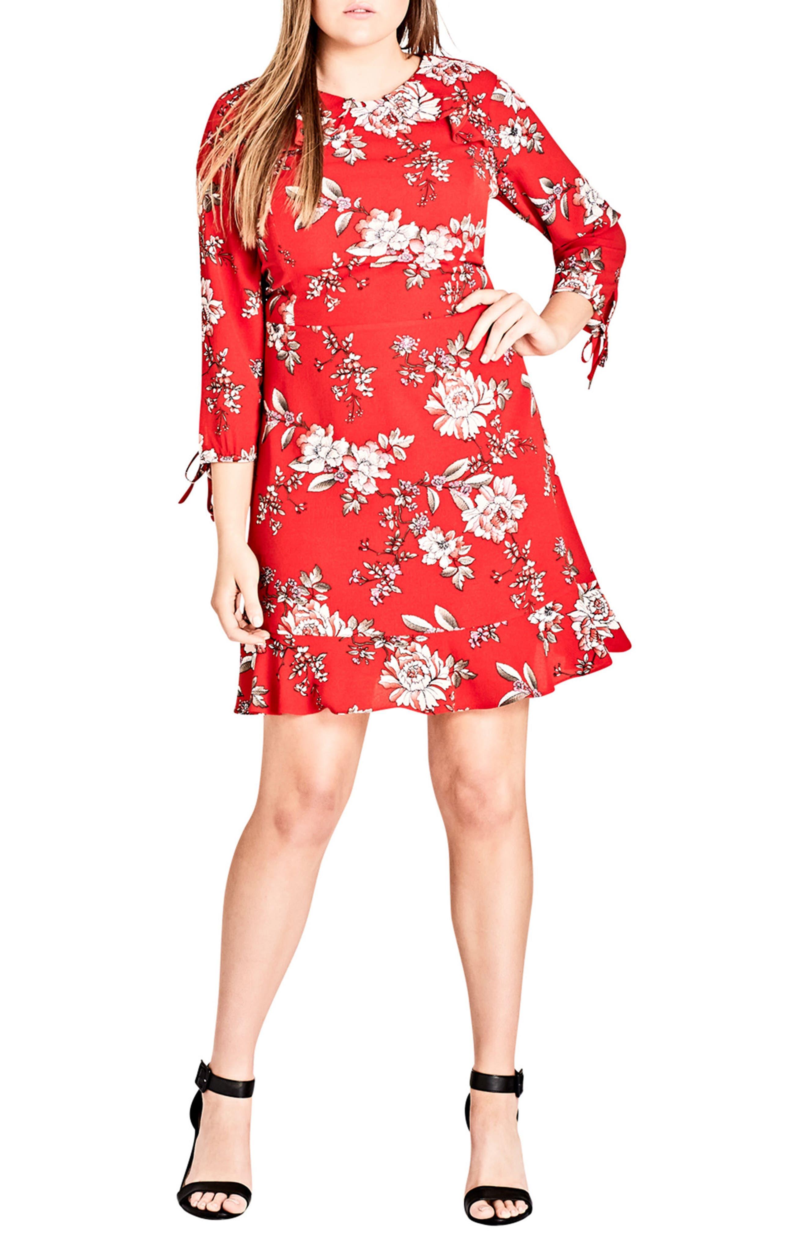 Main Image - City Chic Scarlet Floral Fit & Flare Dress (Plus Size)