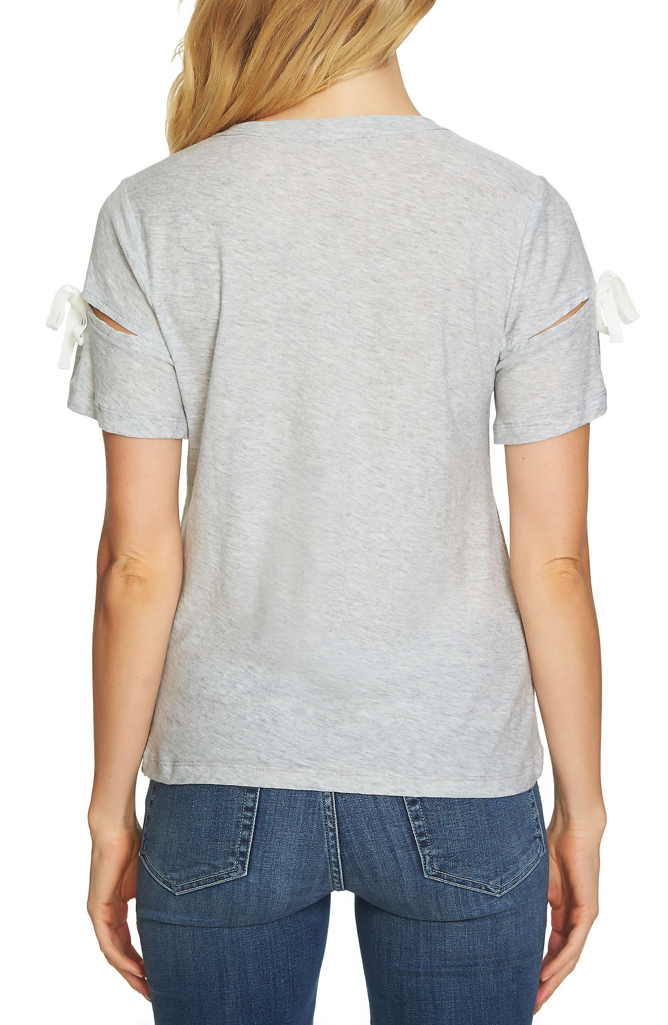 Bow Trim Tee,                             Alternate thumbnail 2, color,                             Heather Grey