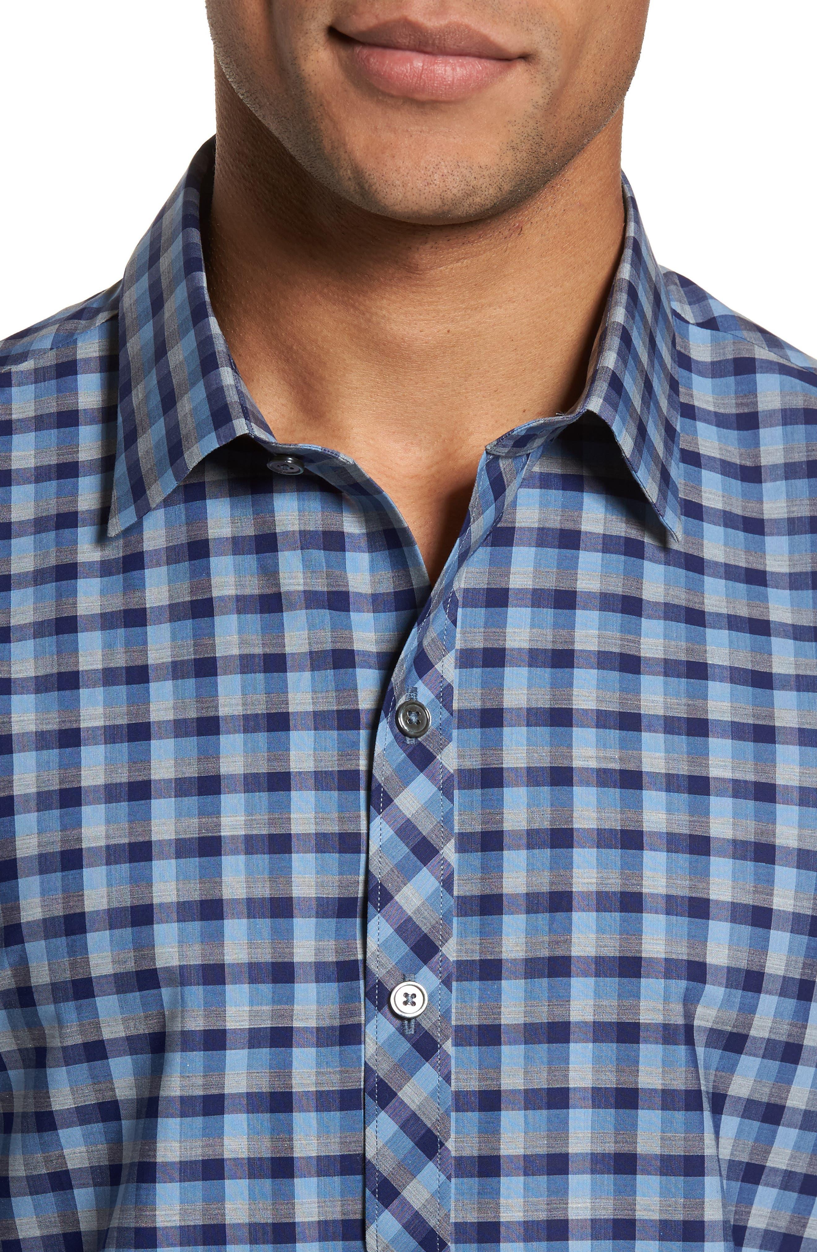 Dane Check Sport Shirt,                             Alternate thumbnail 4, color,                             Light Blue