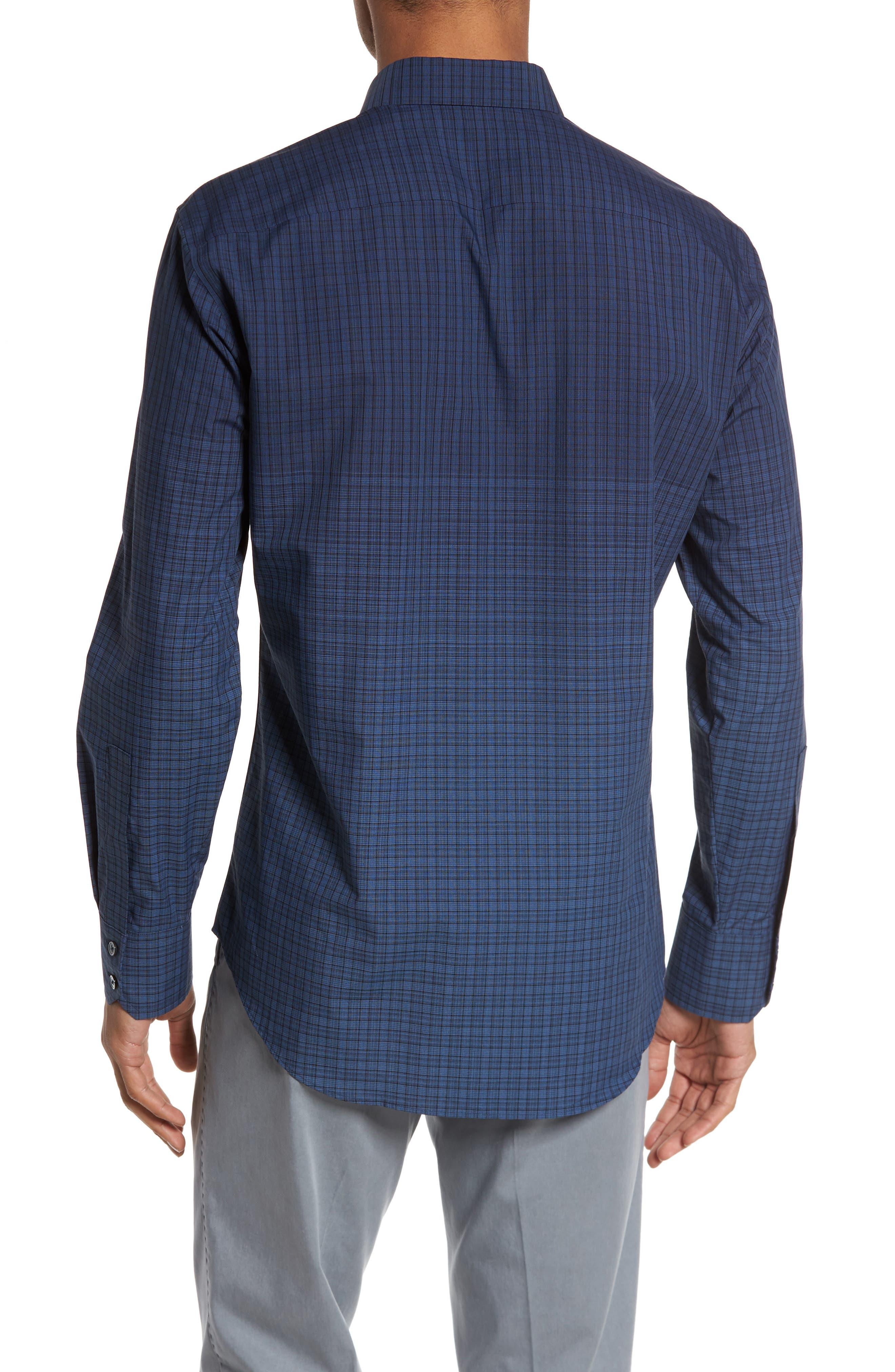 Wein Slim Fit Check Sport Shirt,                             Alternate thumbnail 2, color,                             Dark Blue