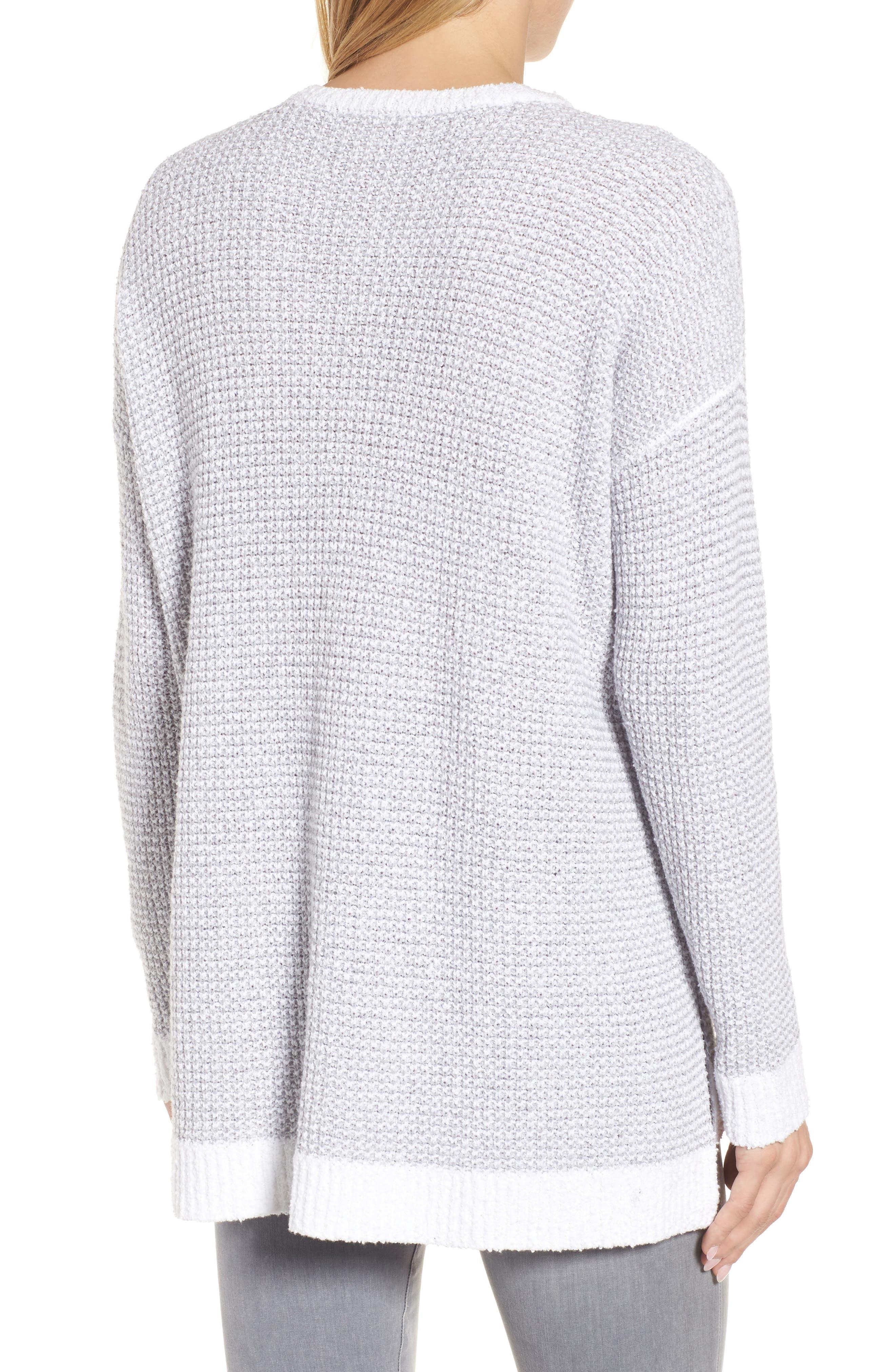 Waffled Organic Cotton Sweater,                             Alternate thumbnail 2, color,                             Dark Pearl