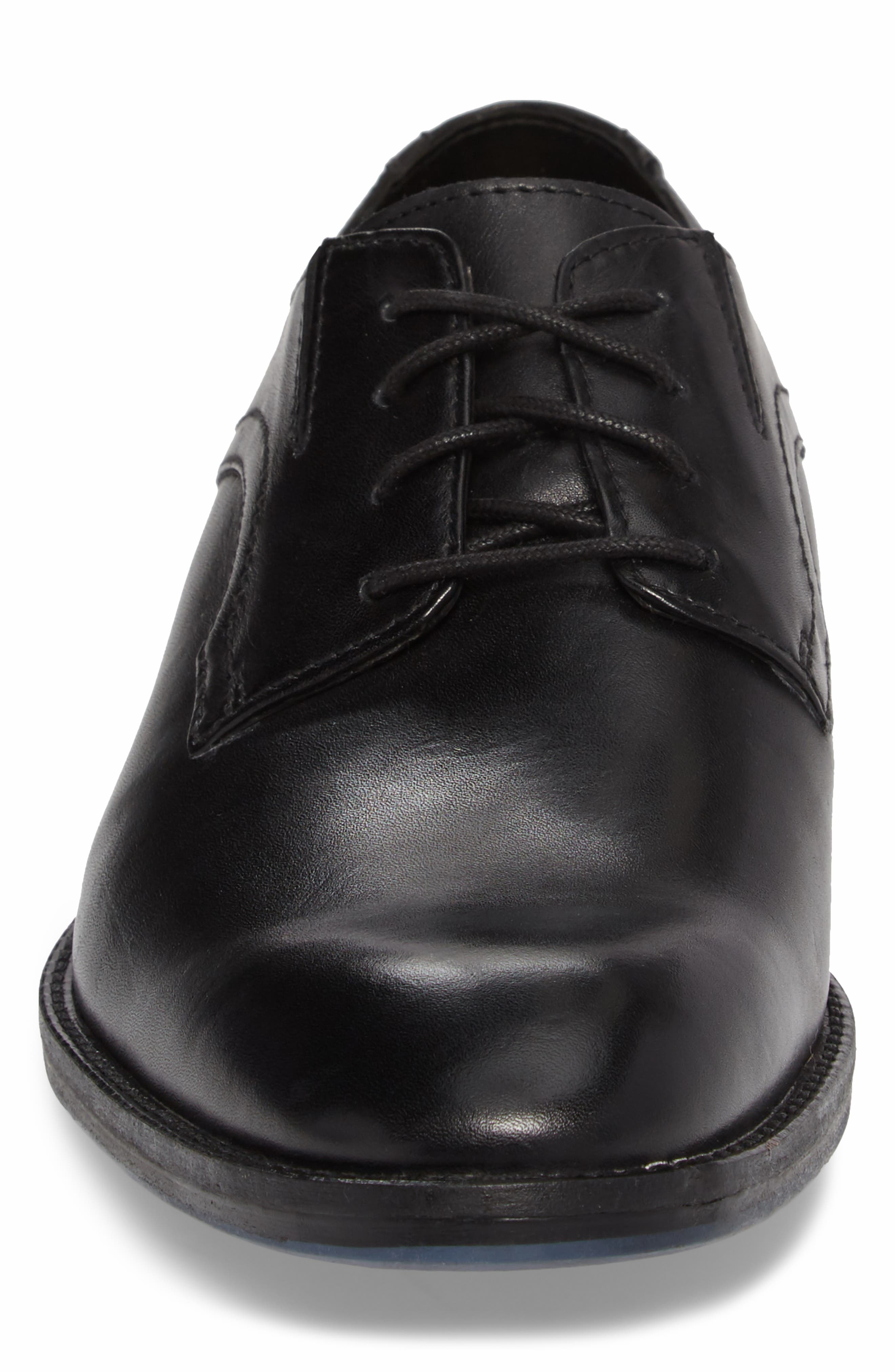 Clarks<sup>®</sup> Prangley Walk Plain Toe Derby,                             Alternate thumbnail 4, color,                             Black Leather