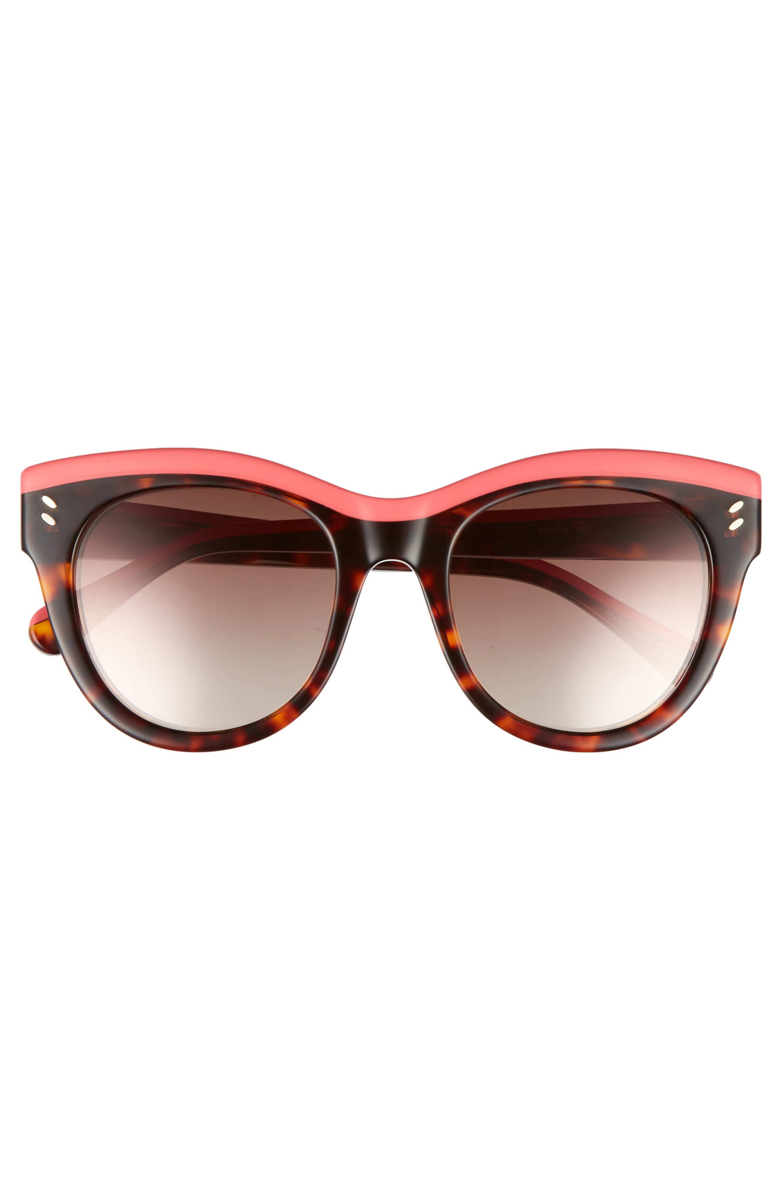 51mm Cat Eye Sunglasses,                             Alternate thumbnail 3, color,                             Pink/ Avana