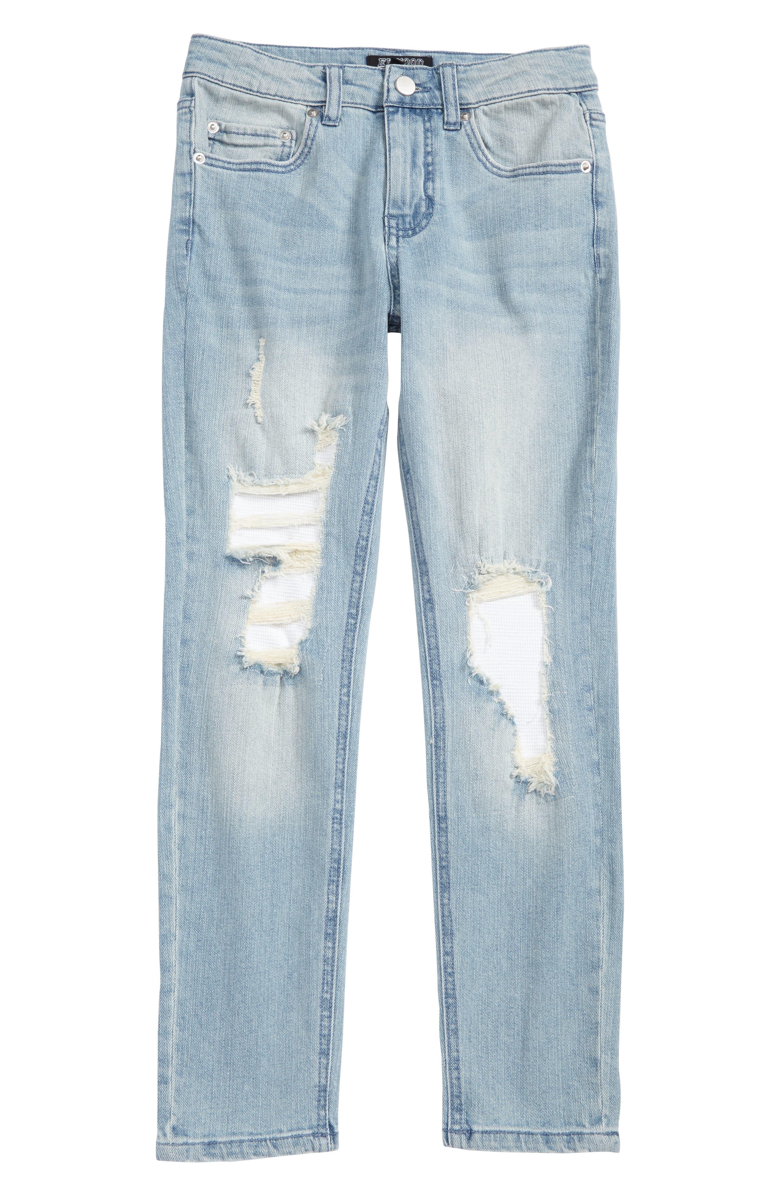 Main Image - Elwood Rip & Repair Straight Leg Jeans (Big Boys)