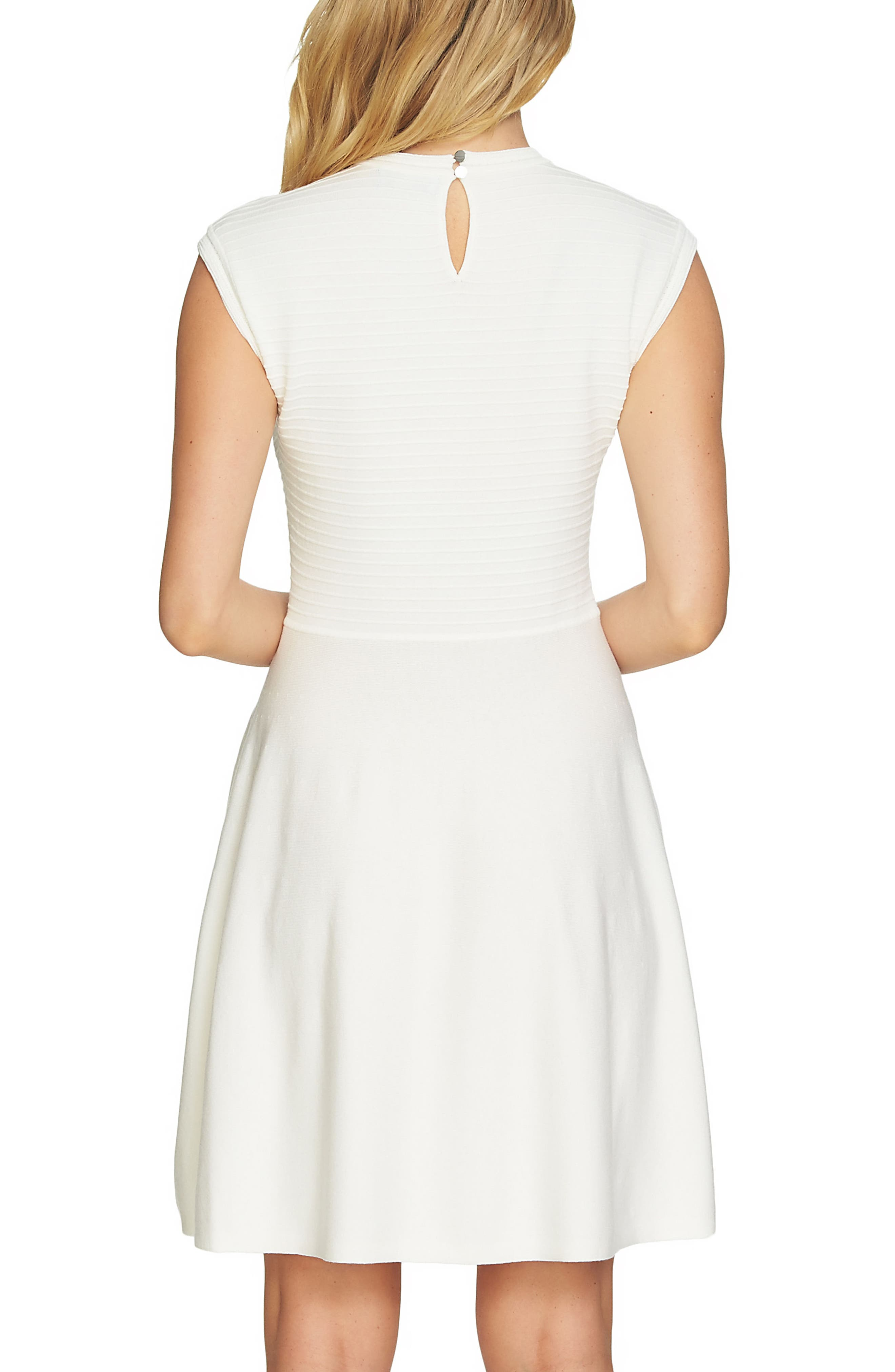 Knit Fit & Flare Dress,                             Alternate thumbnail 2, color,                             Antique White