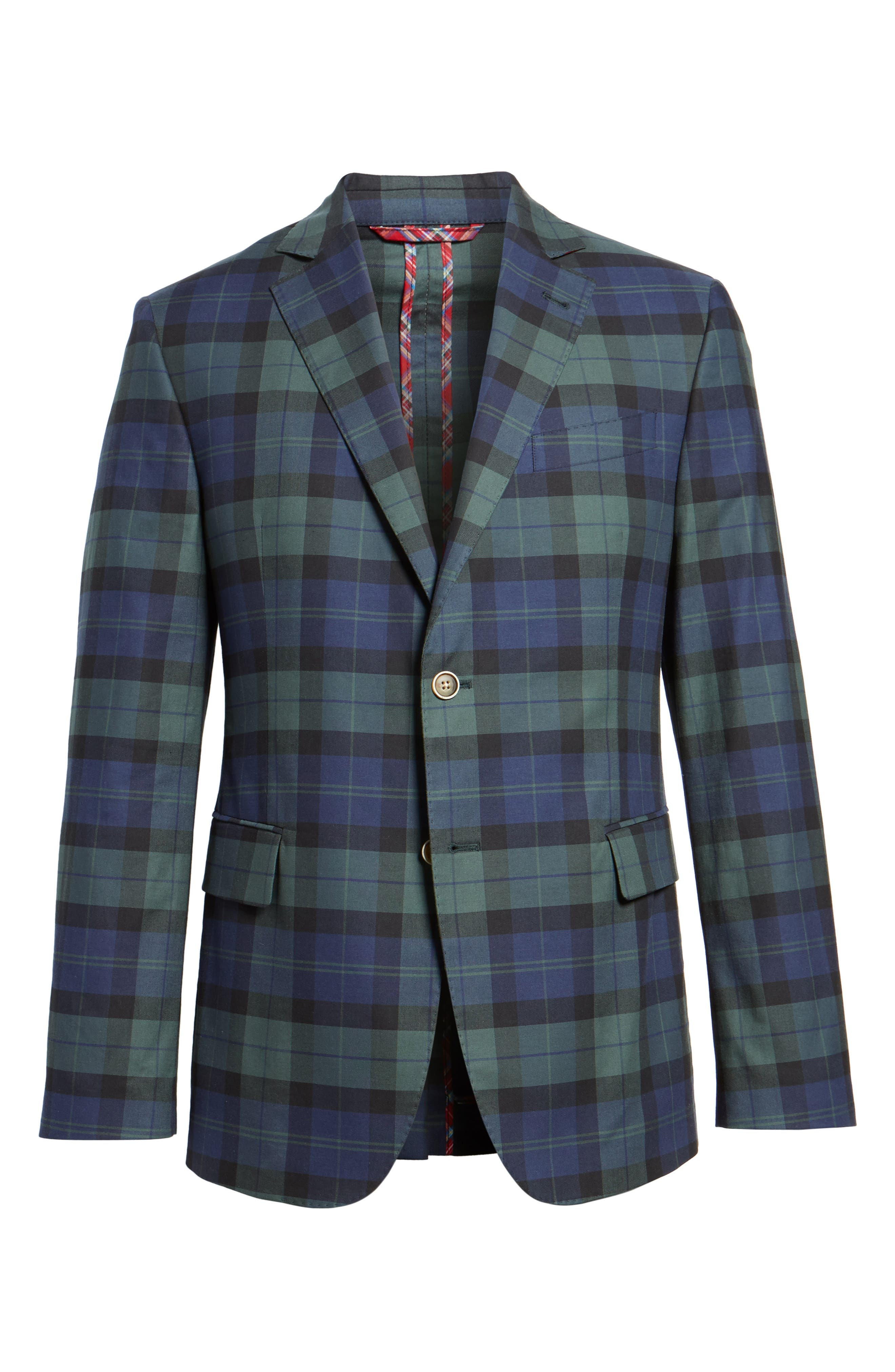 Alternate Image 6  - vineyard vines Classic Fit Blackwatch Plaid Sport Coat