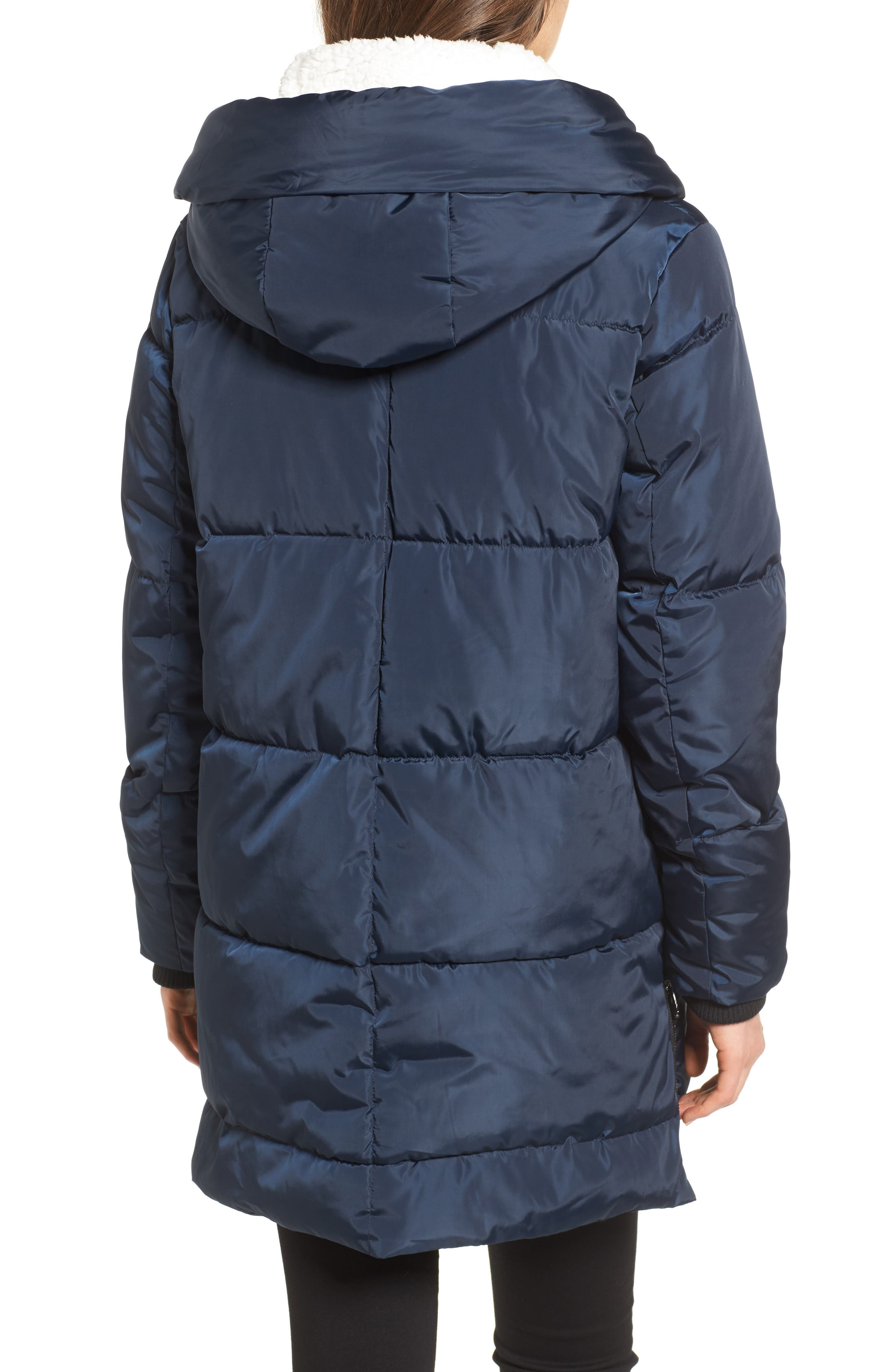 Alternate Image 2  - Steve Madden Hooded Puffer Jacket with Faux Shearling Trim