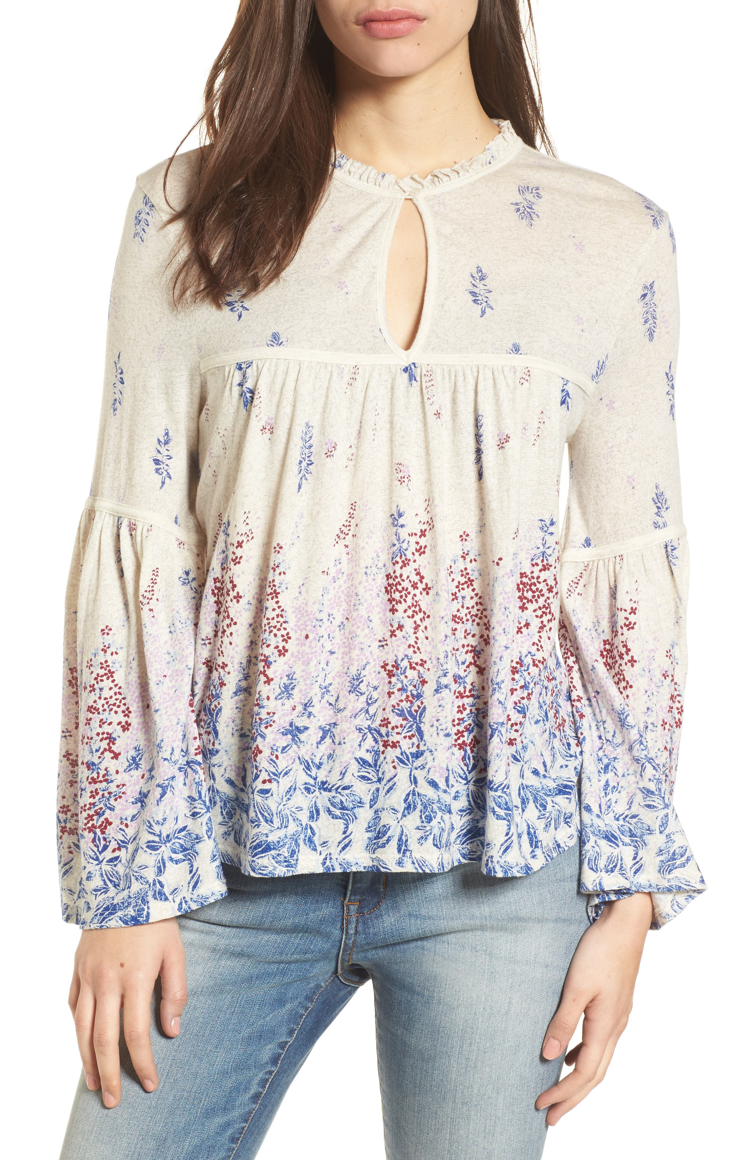 Alternate Image 1 Selected - Lucky Brand Print Knit Peasant Top