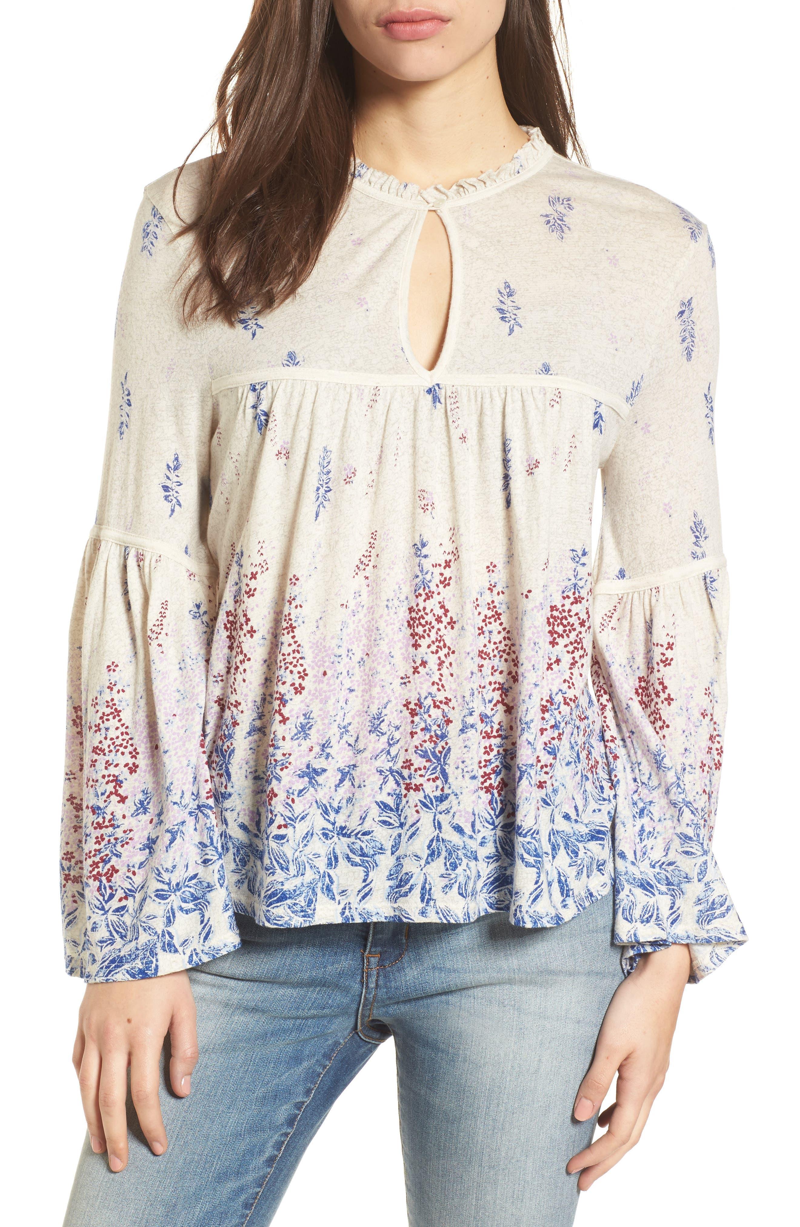 Print Knit Peasant Top,                         Main,                         color, Natural Multi