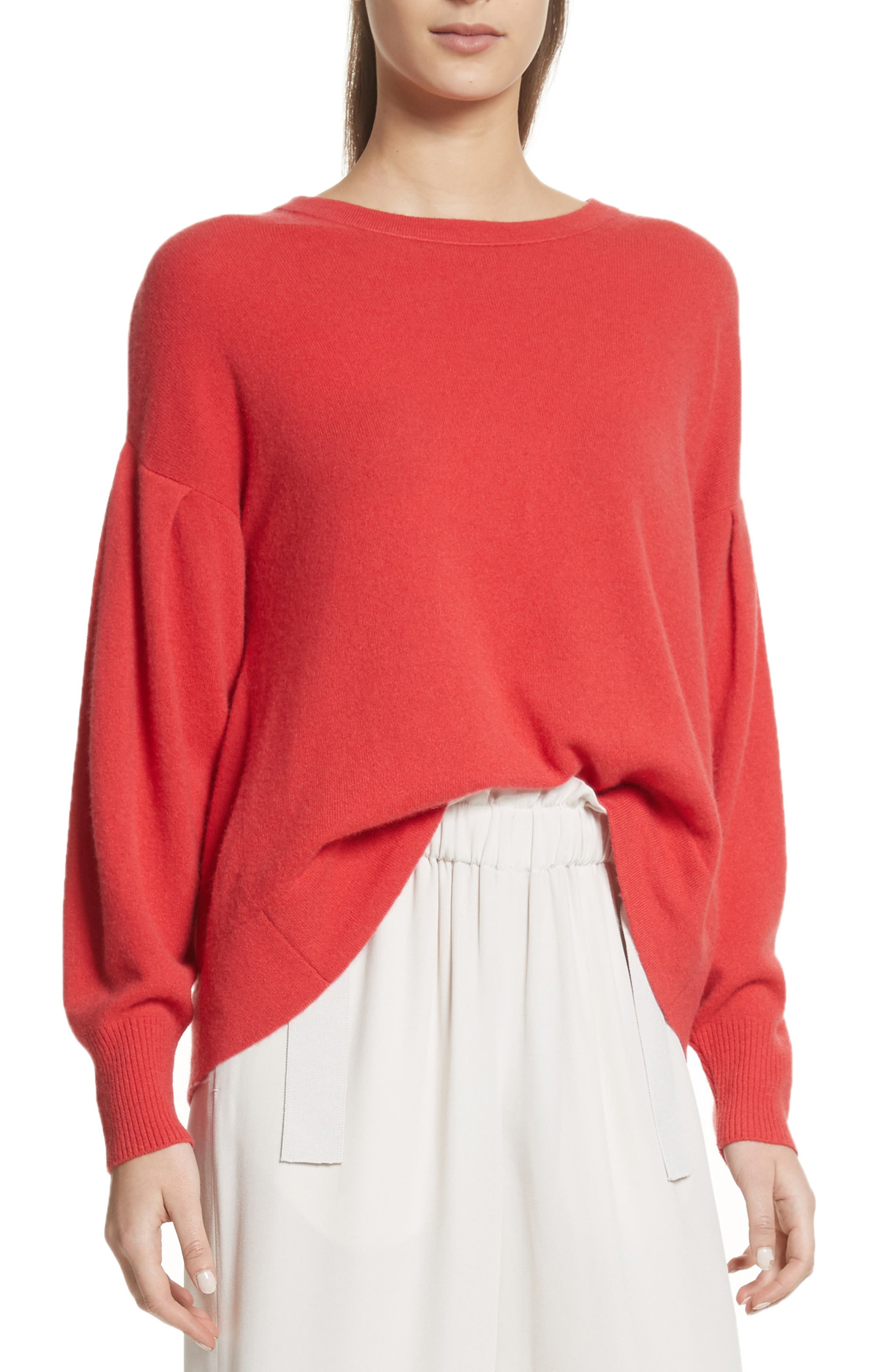 Pleat Sleeve Cashmere Sweater,                         Main,                         color, Poppy