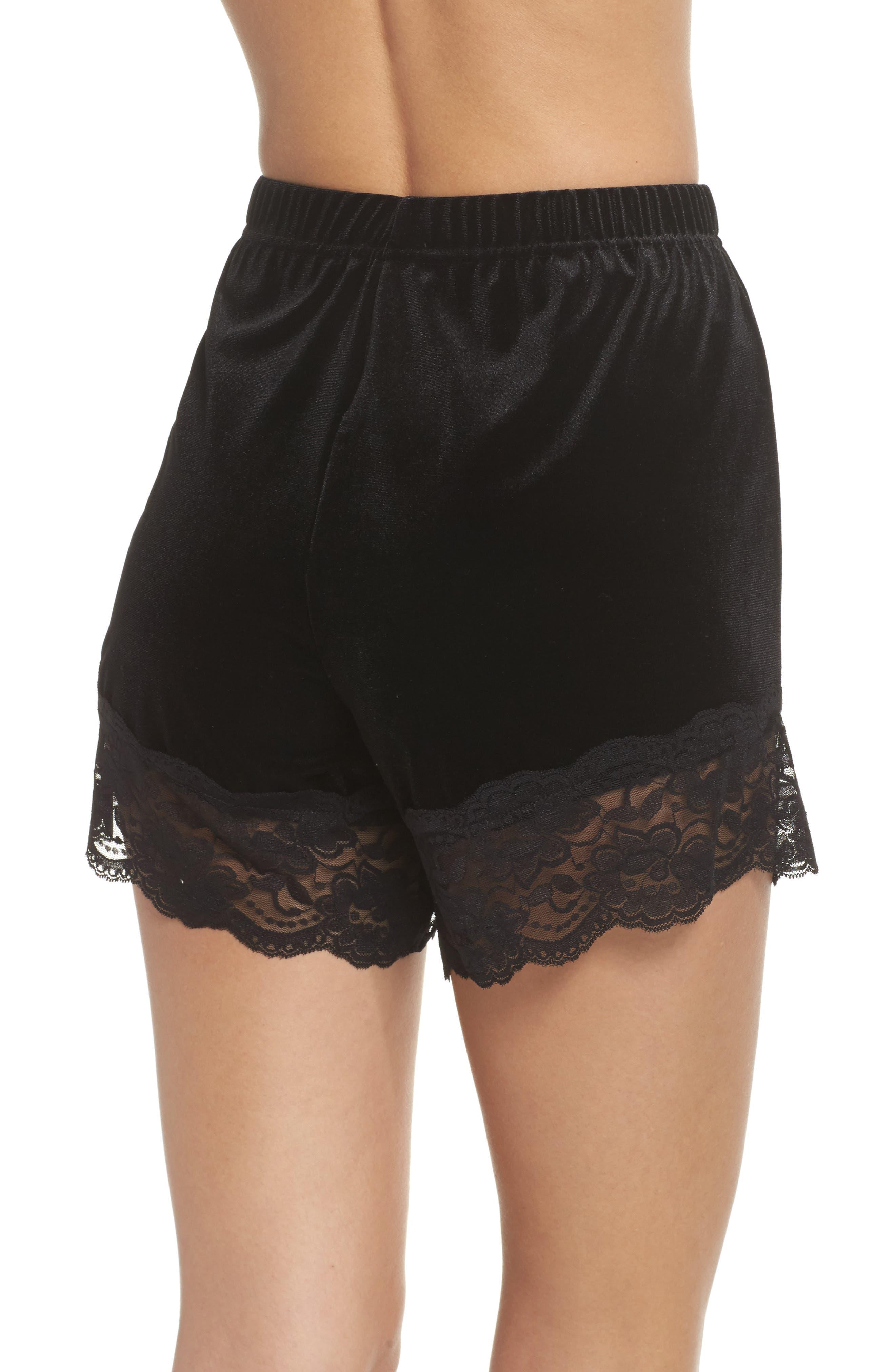 Alternate Image 2  - Topshop Lace Trim Velvet Lounge Shorts