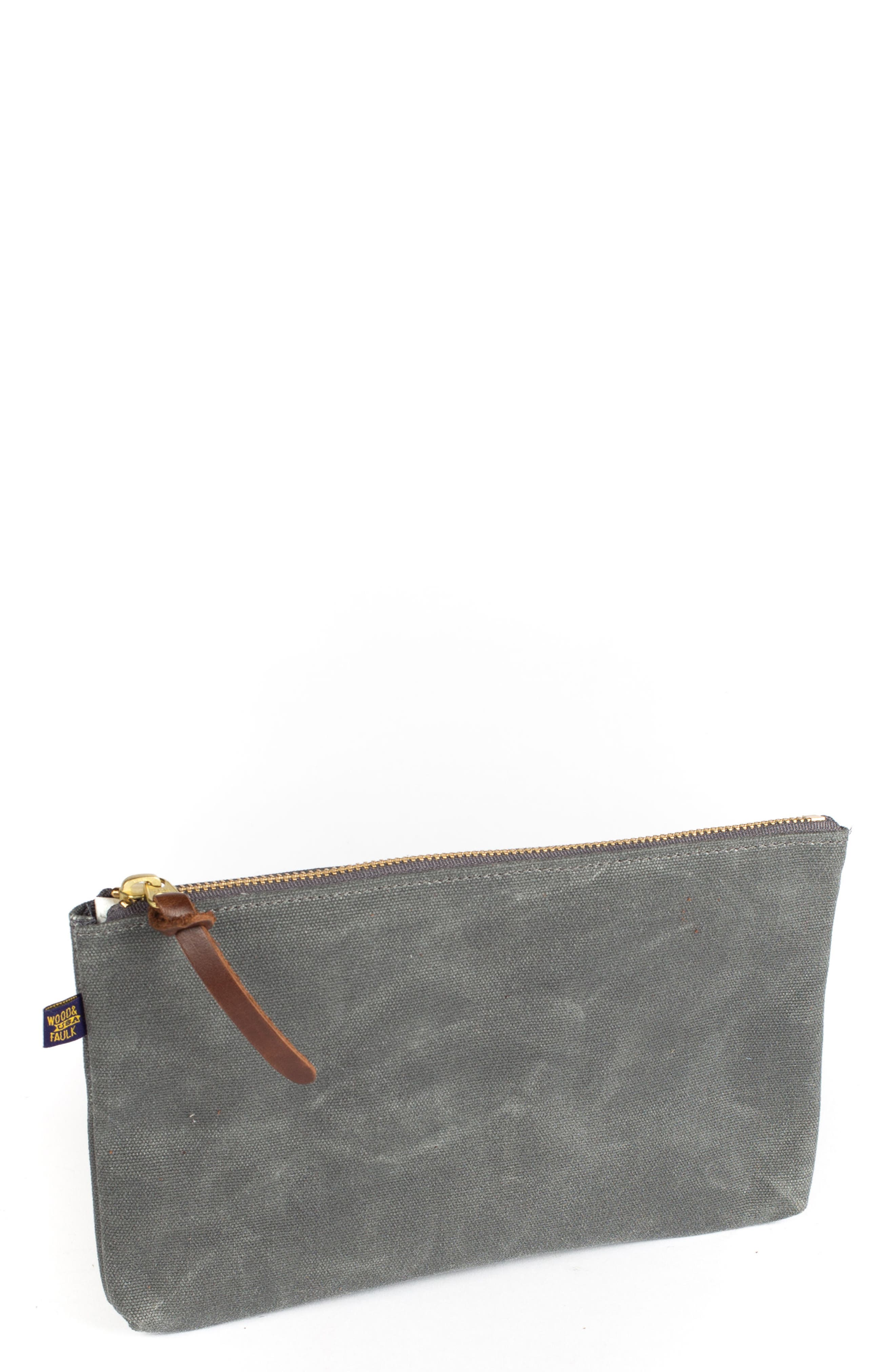 Alternate Image 1 Selected - Wood&Faulk Waxed Canvas Zip Pouch