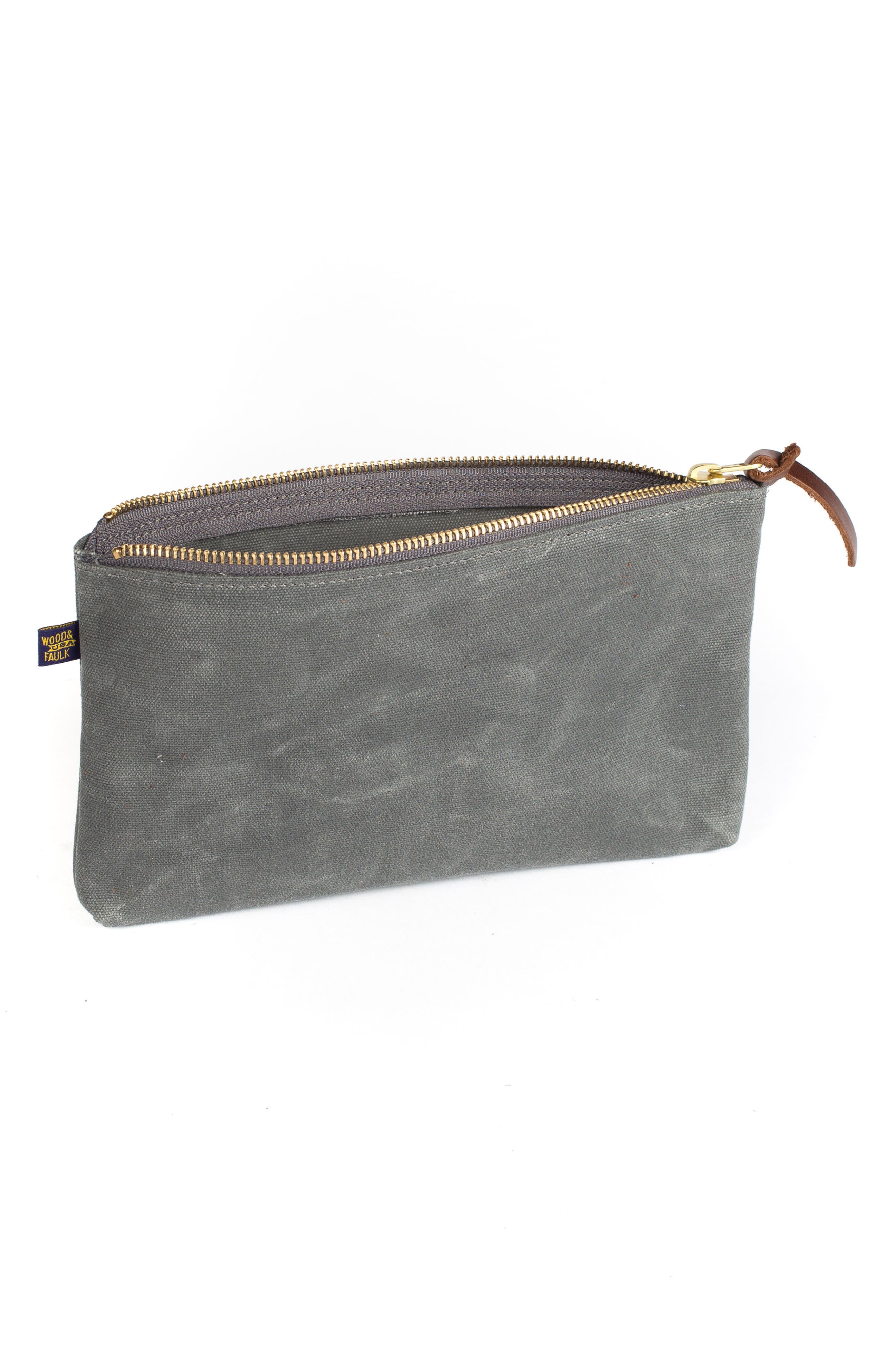 Alternate Image 2  - Wood&Faulk Waxed Canvas Zip Pouch