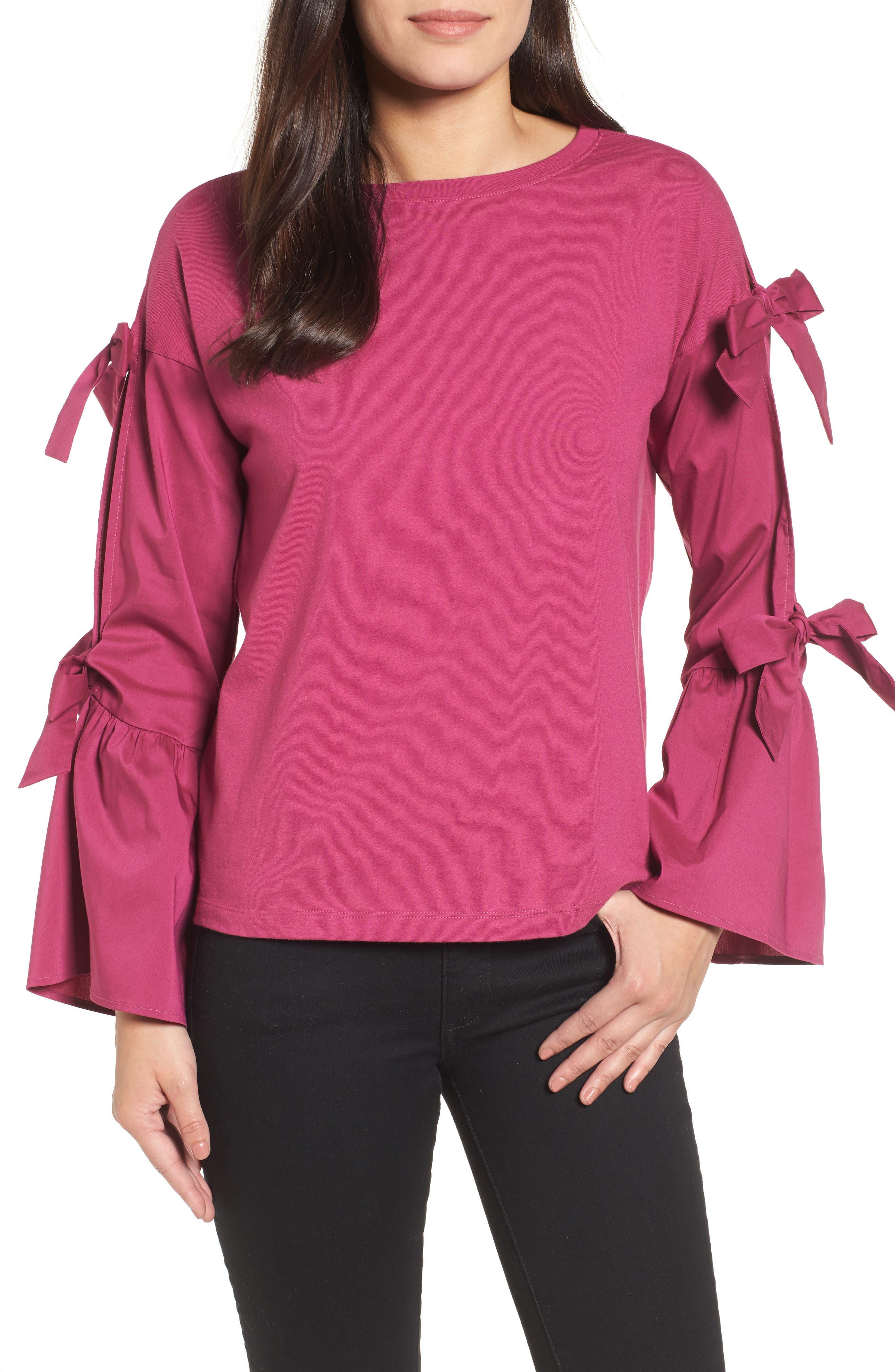 Bow Sleeve Poplin Cotton Top,                             Main thumbnail 1, color,                             Purple Boysen