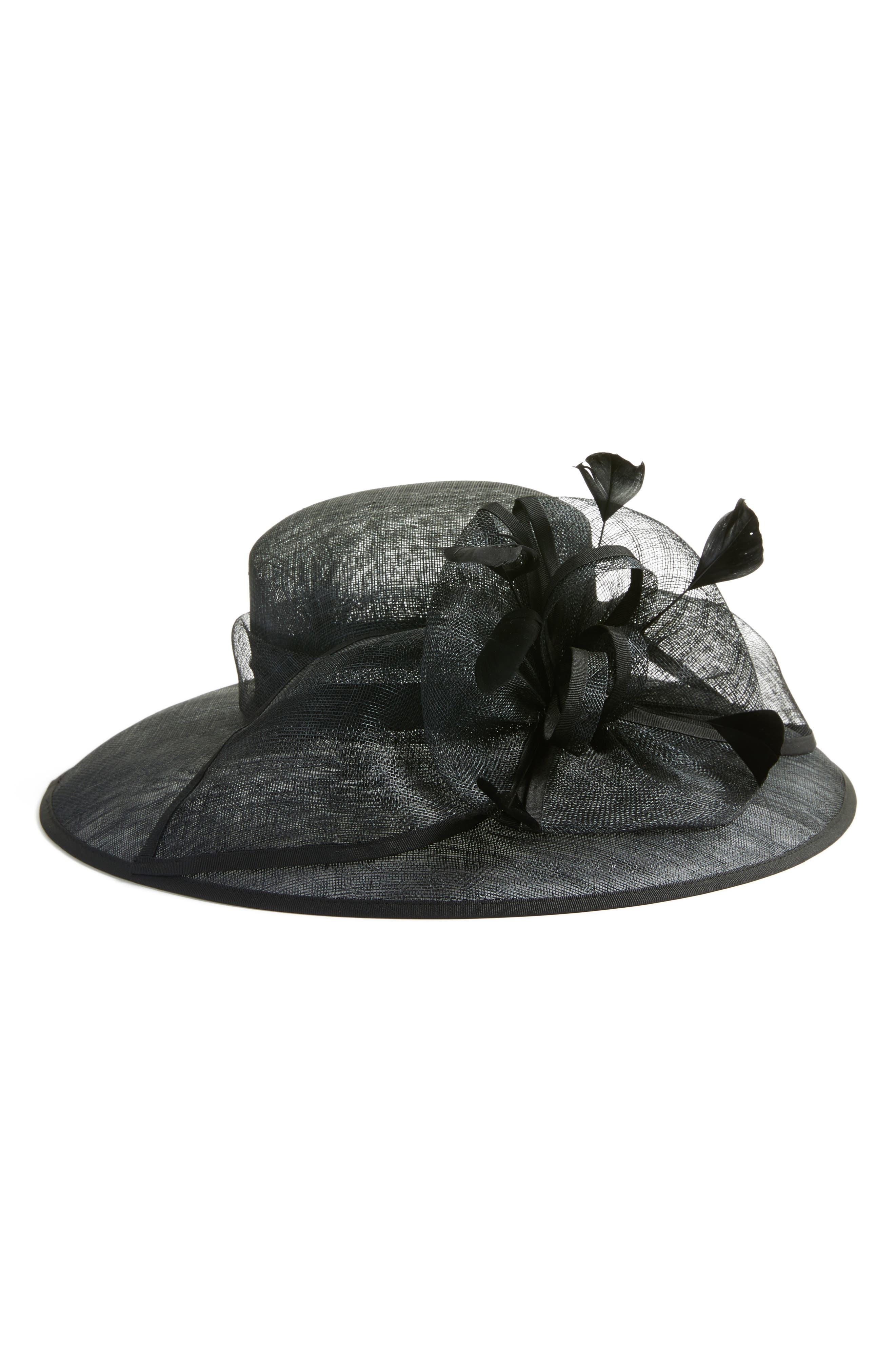 Feathered Sinamay Hat,                             Main thumbnail 1, color,                             Black