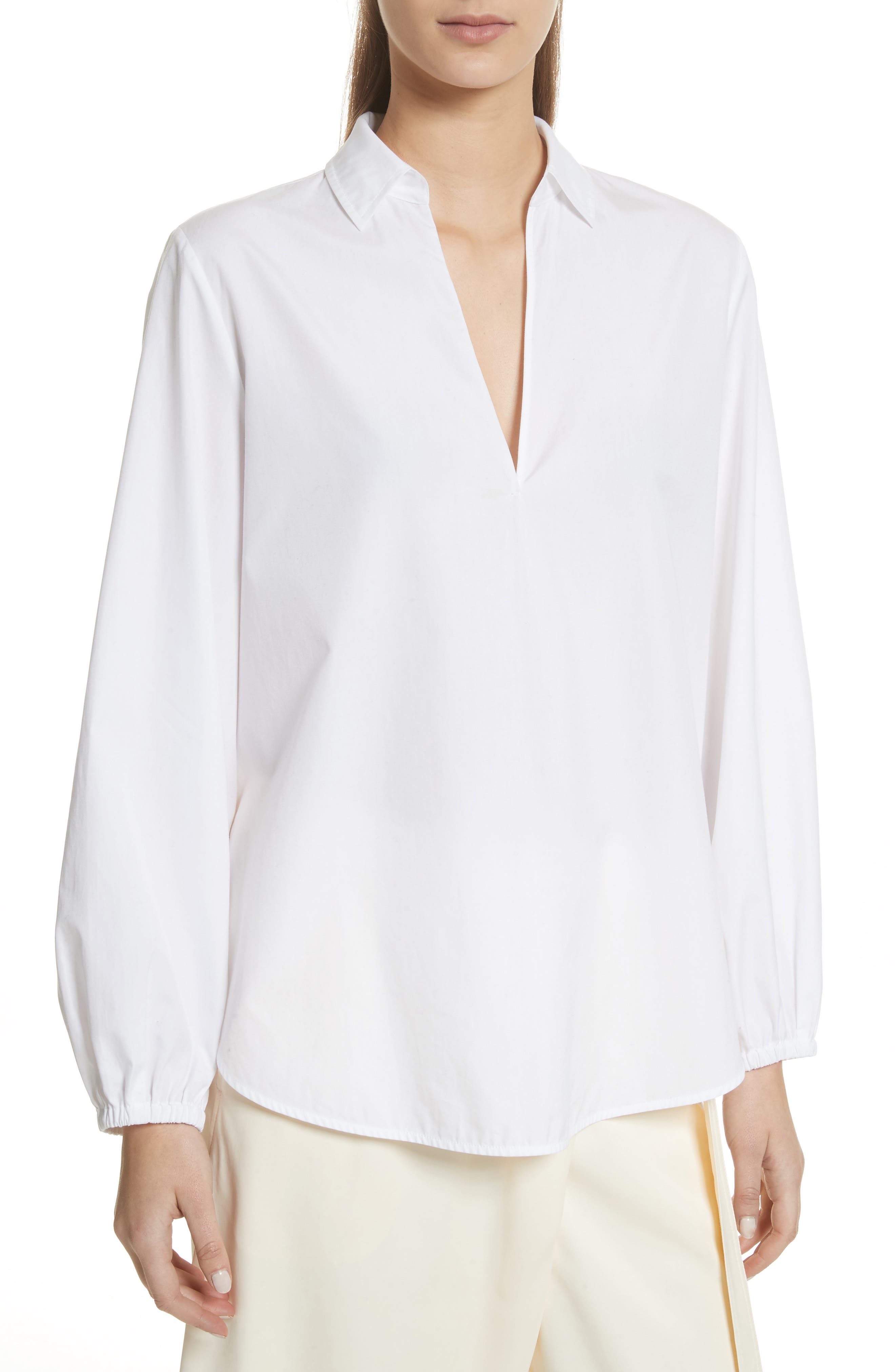 Swing Front Pullover Shirt,                         Main,                         color, Optic White