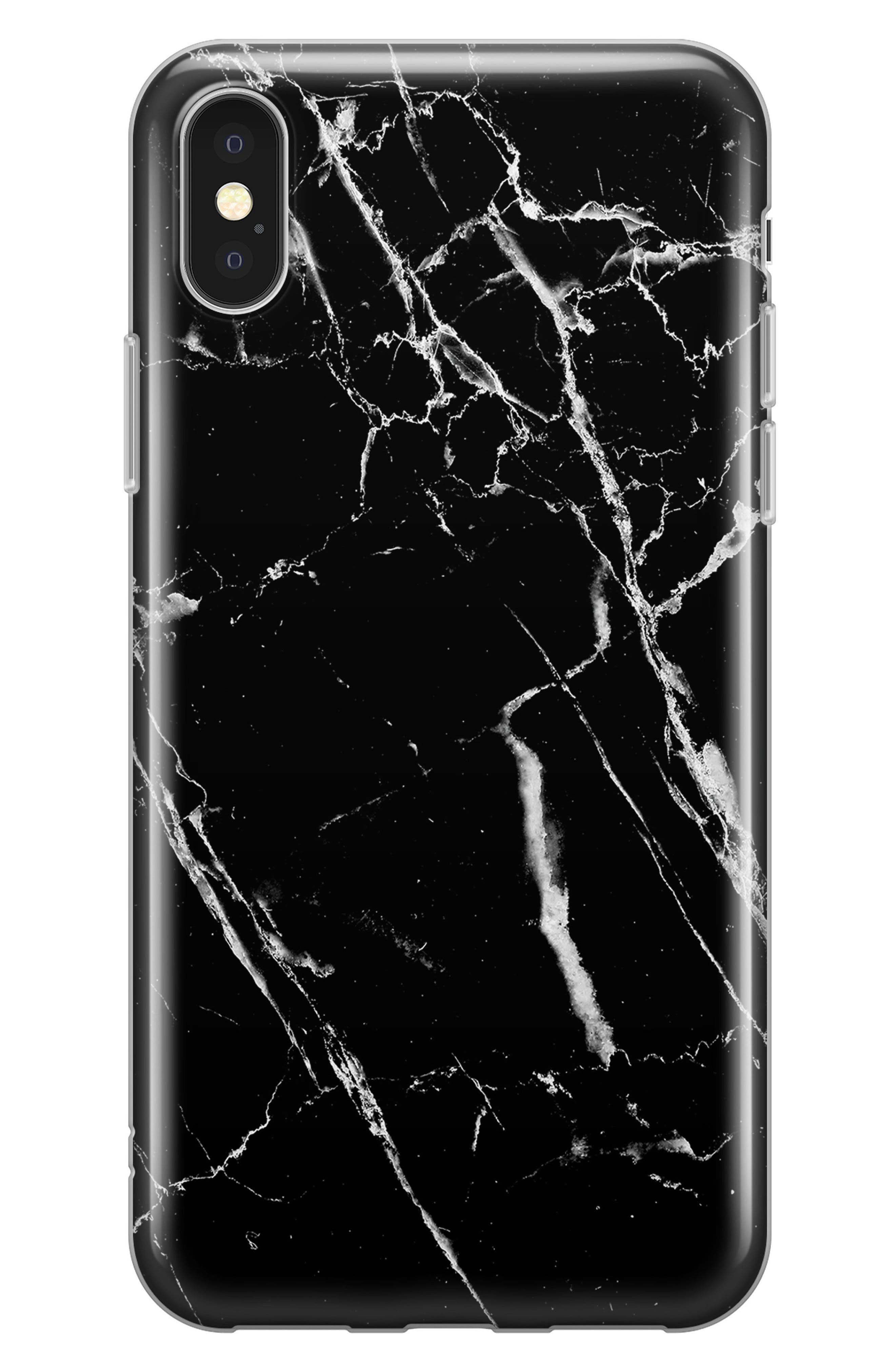 Marble iPhone X Case,                         Main,                         color, Black Marble