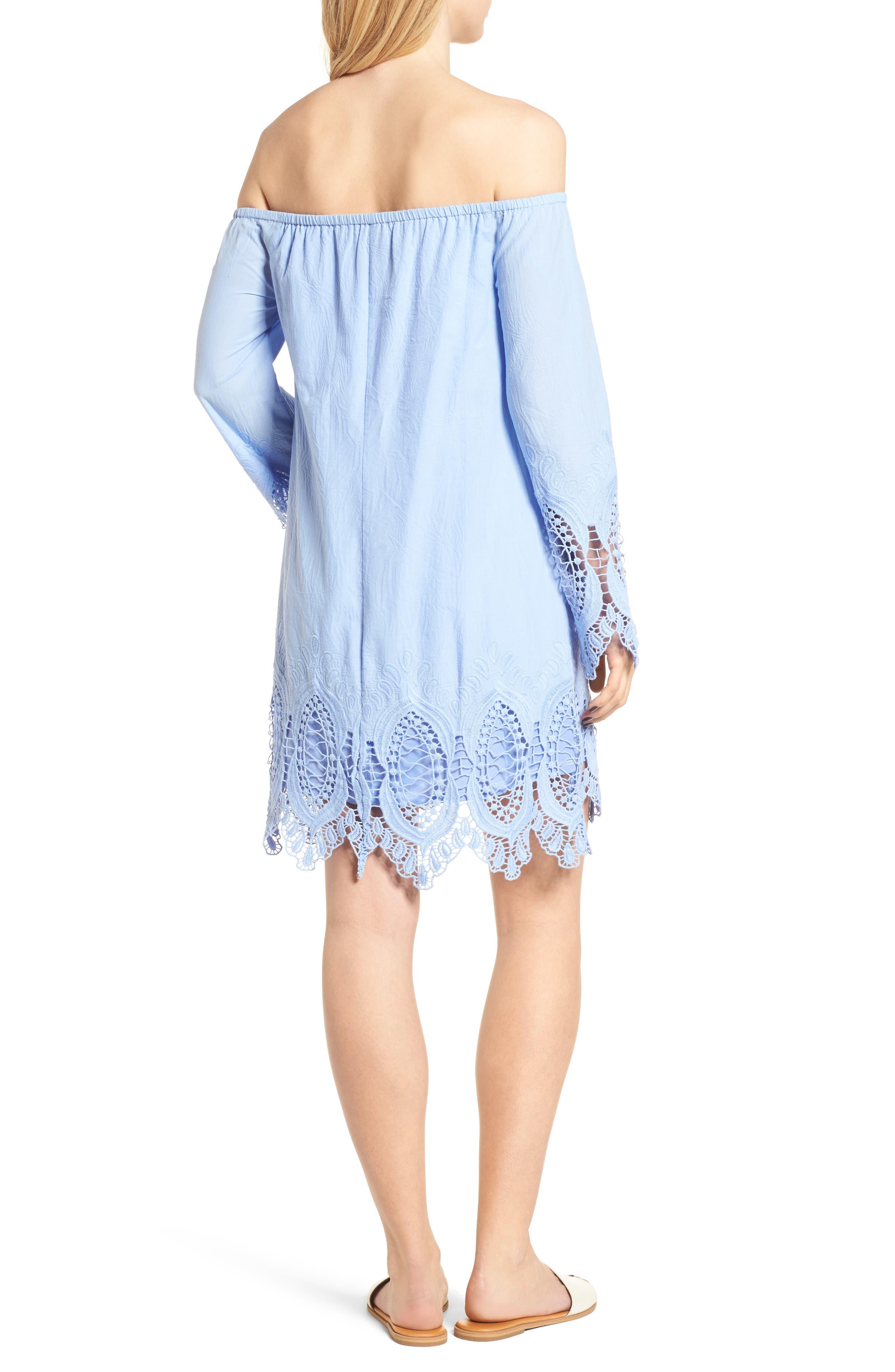 Lace Trim Off the Shoulder Dress,                             Alternate thumbnail 2, color,                             Blue Powder