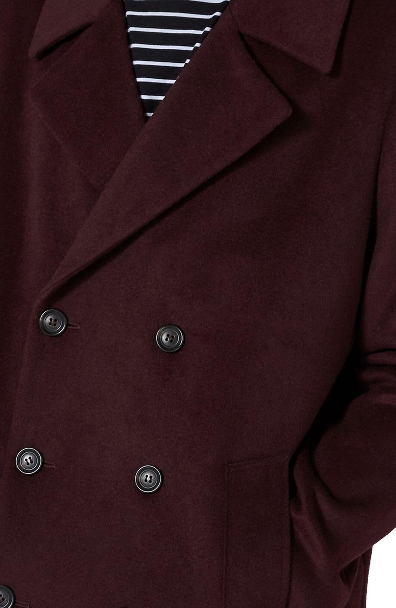 Oversize Double Breated Coat,                             Alternate thumbnail 3, color,                             Burgundy