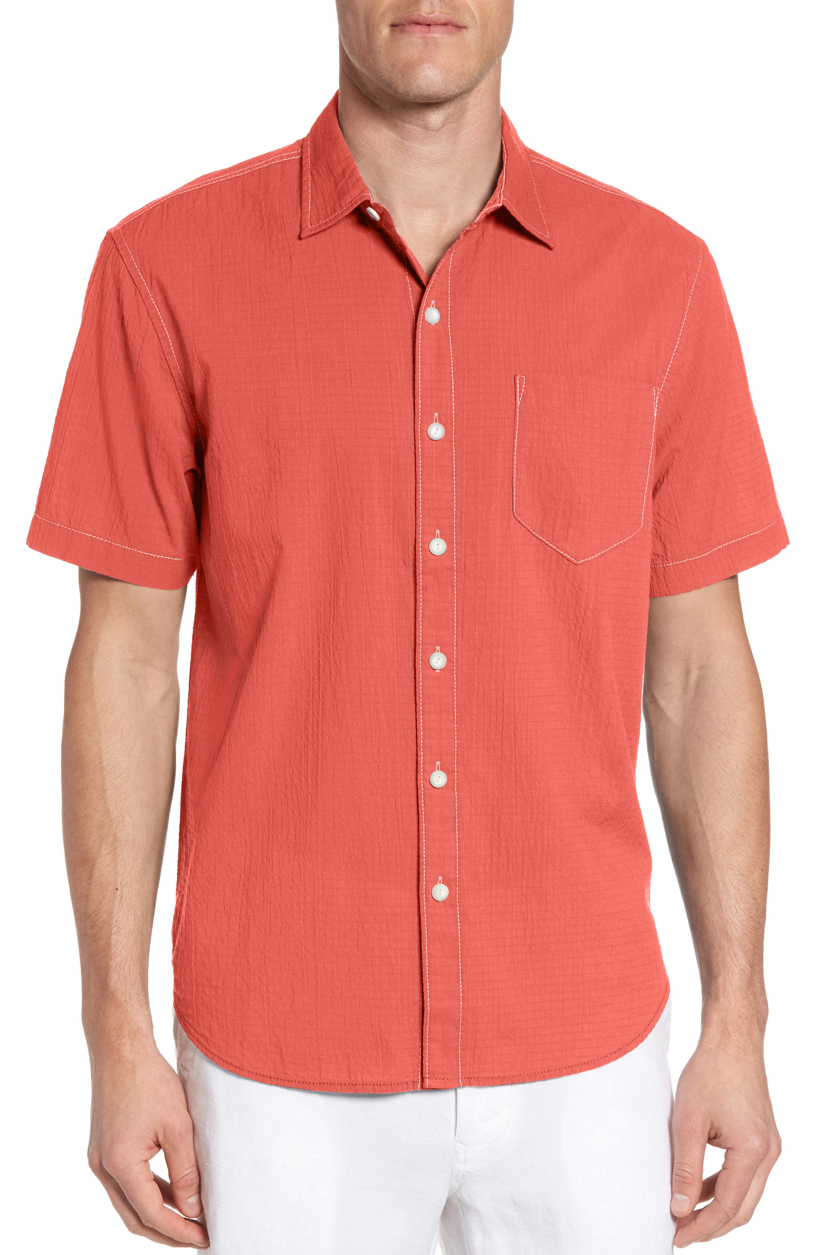 The Salvatore Sport Shirt,                         Main,                         color, Burnt Coral