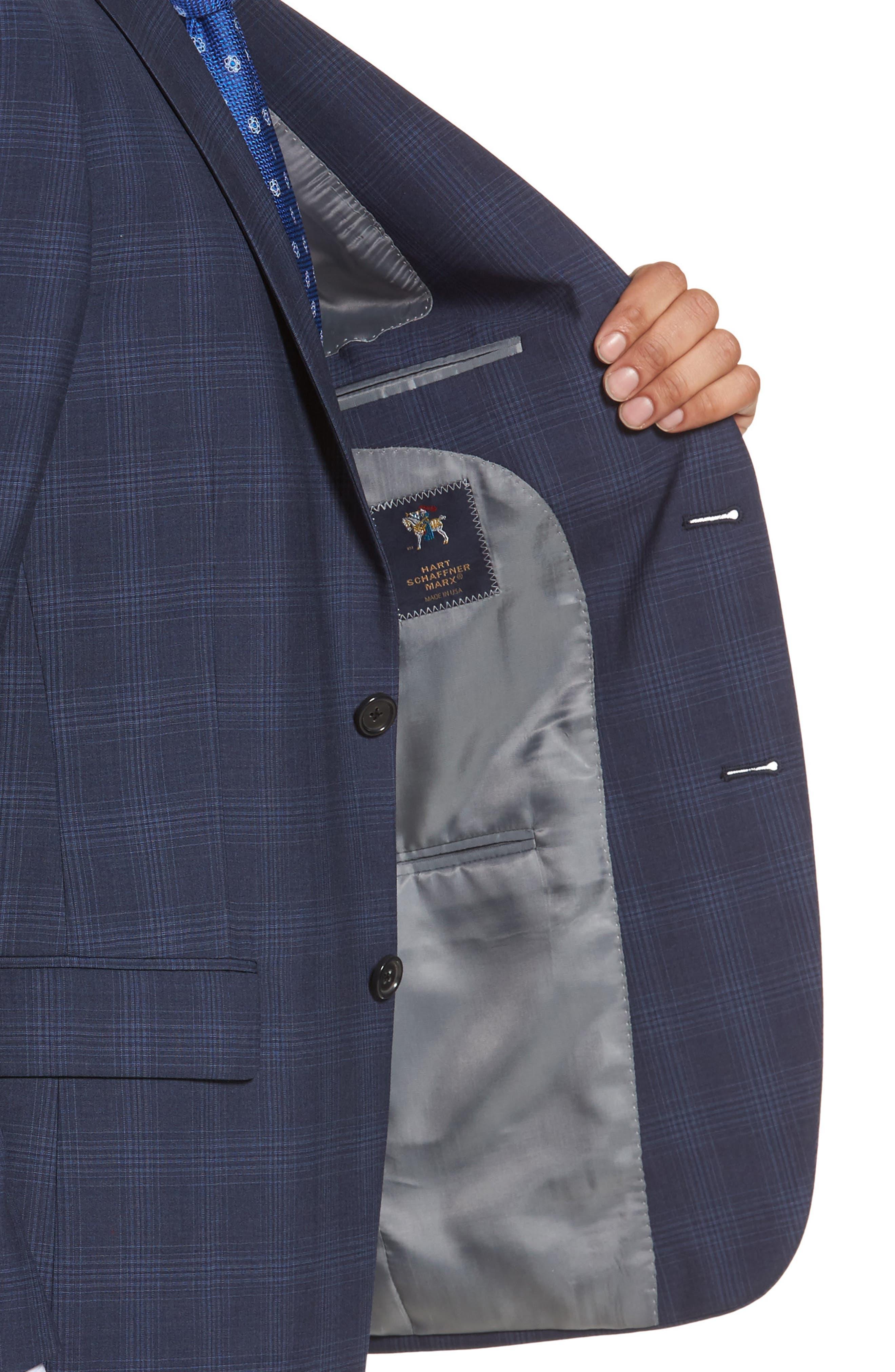 Classic Fit Plaid Wool Suit,                             Alternate thumbnail 4, color,                             Navy